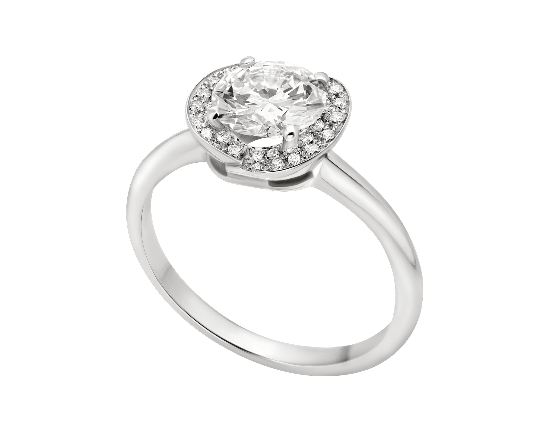 Incontro d'Amore platinum ring set with a round brilliant-cut diamond and a halo of pavé diamonds. 355436 image 4