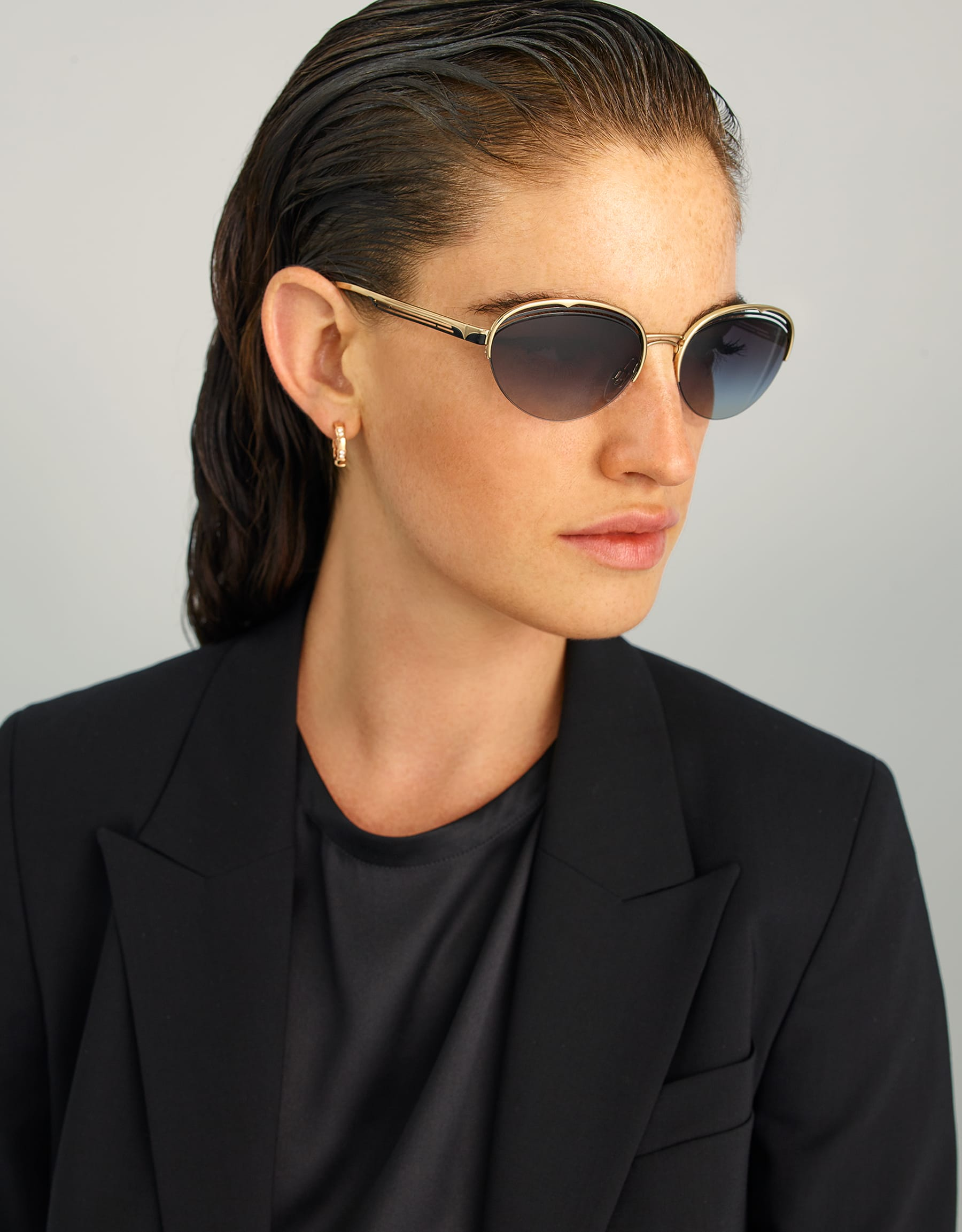 Bulgari B.zero1 B.retrovibe half rim oval metal sunglasses. 903893 image 3