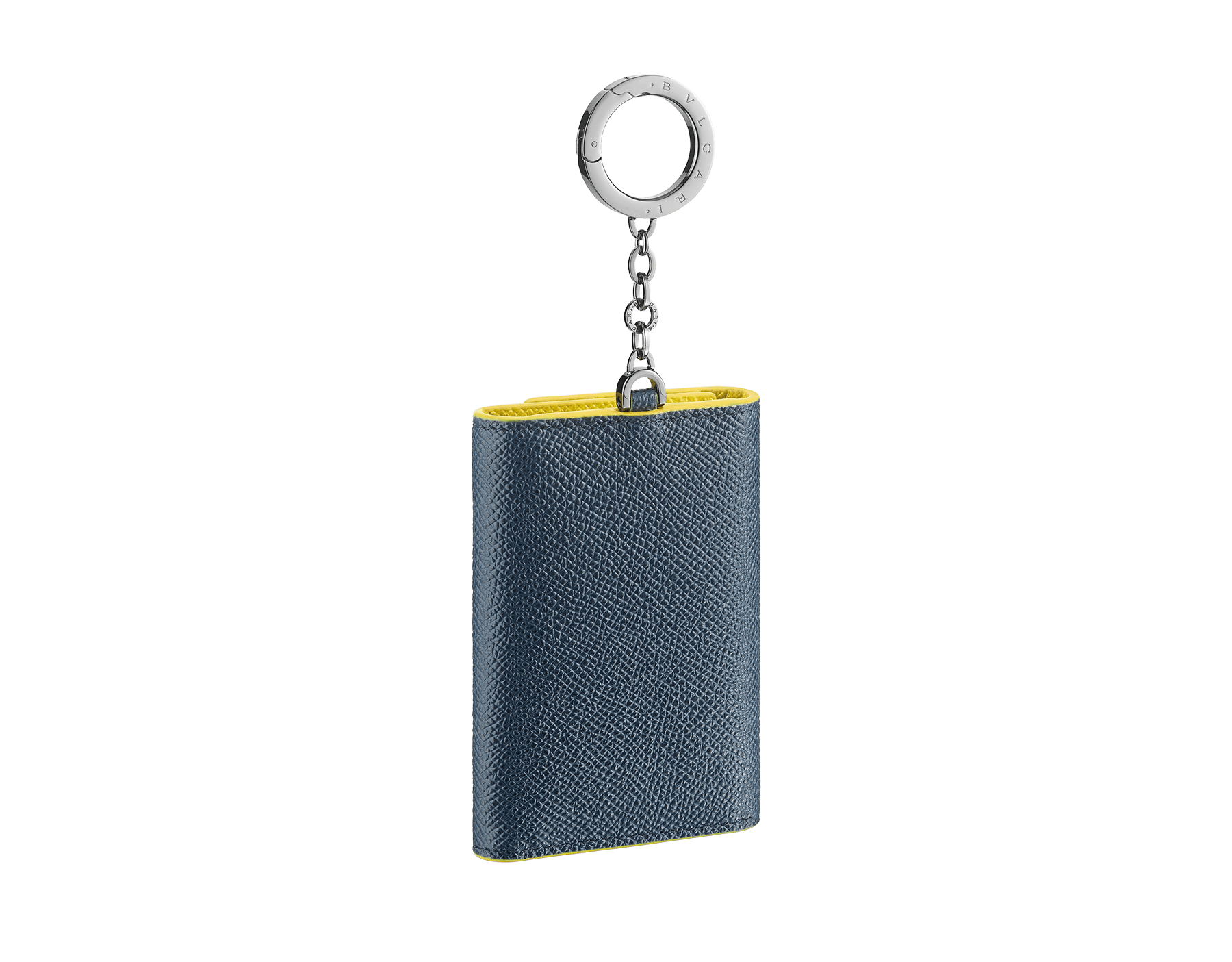 BVLGARI BVLGARI key holder in denim sapphire and daisy topaz grain calf leather. Iconic logo décor and snap hook in palladium-plated brass. 289866 image 3