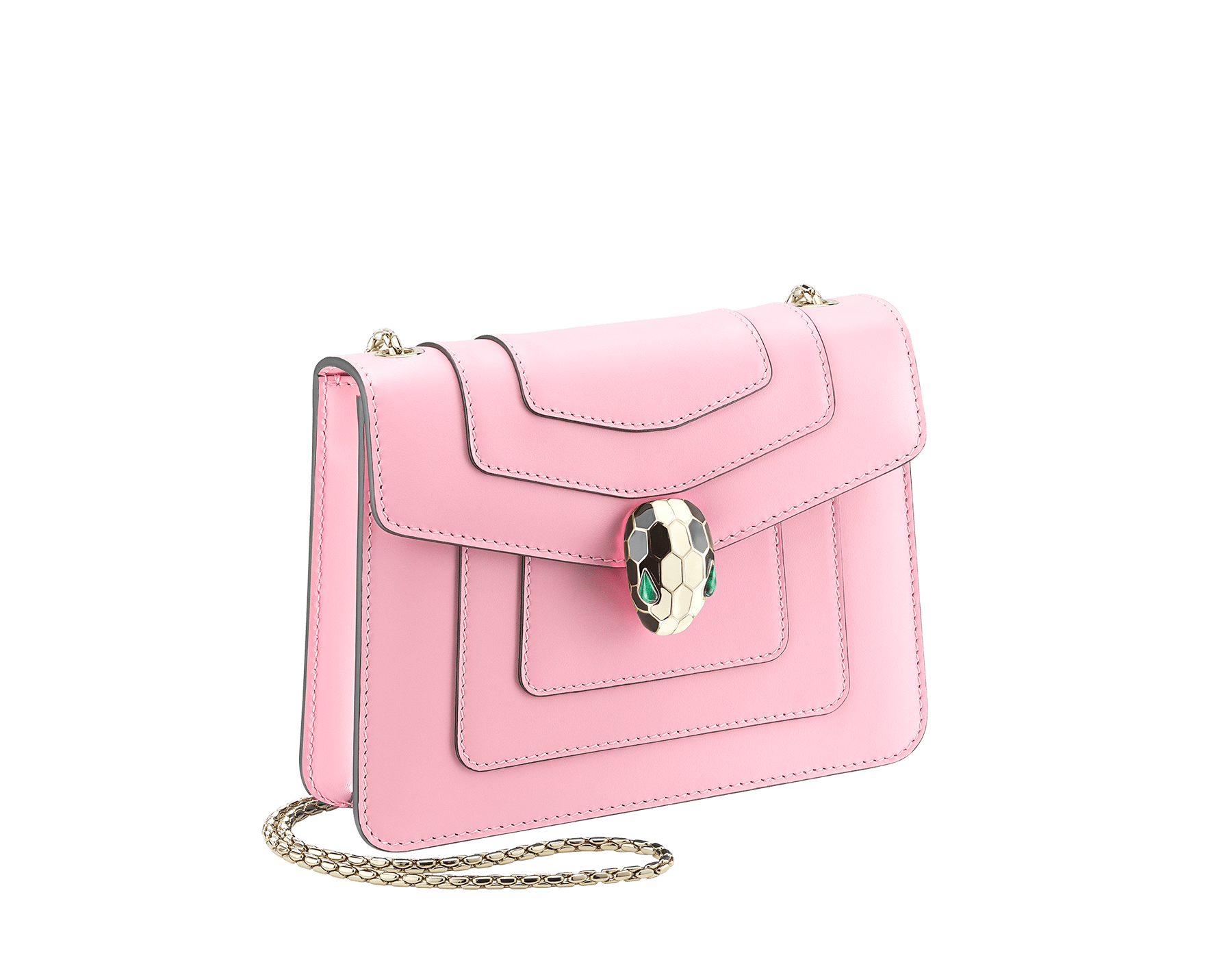 Serpenti Forever crossbody bag in sea star coral smooth calf leather. Snakehead closure in light gold plated brass decorated with black and white enamel, and green malachite eyes. 422-CLb image 2