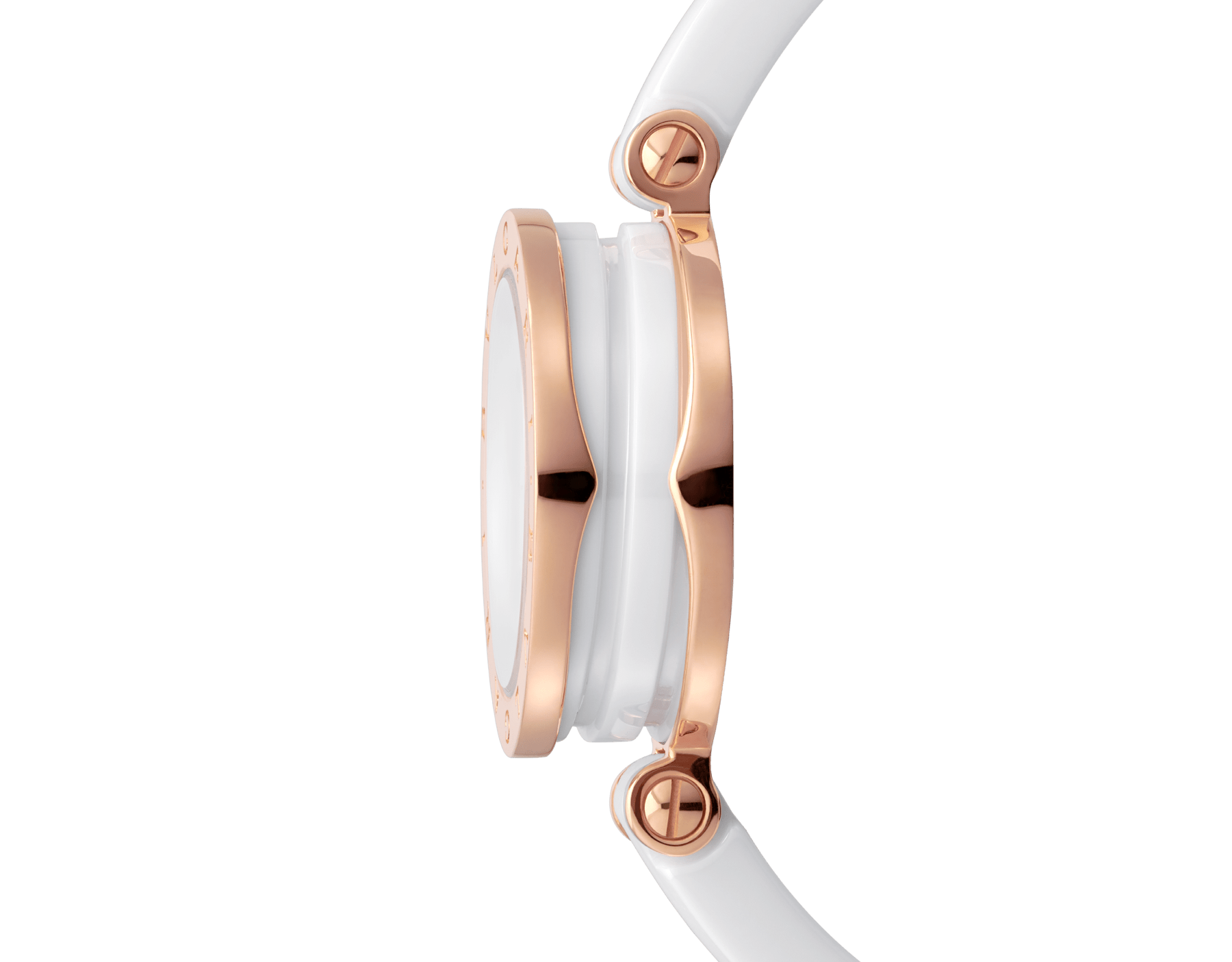 B.zero1 watch with 18 kt rose gold and white ceramic case, white lacquered dial set diamond indexes, white ceramic bangle and 18 kt rose gold clasp. B01watch-white-white-dial3 image 3