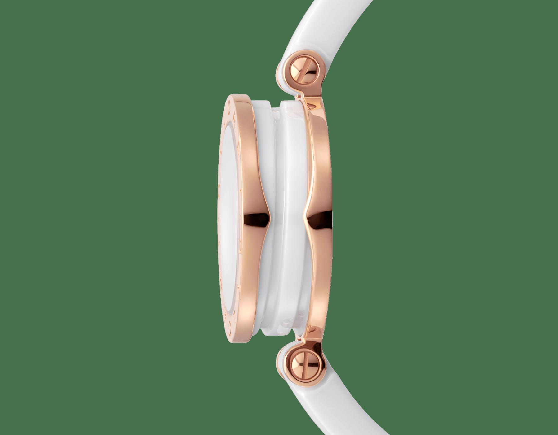 Montre B.zero1 avec boîtier en or rose 18K et acier inoxydable, bracelet jonc et spirale en céramique blanche, cadran laqué blanc et index sertis de diamants. Moyen modèle B01watch-white-white-dial3 image 2