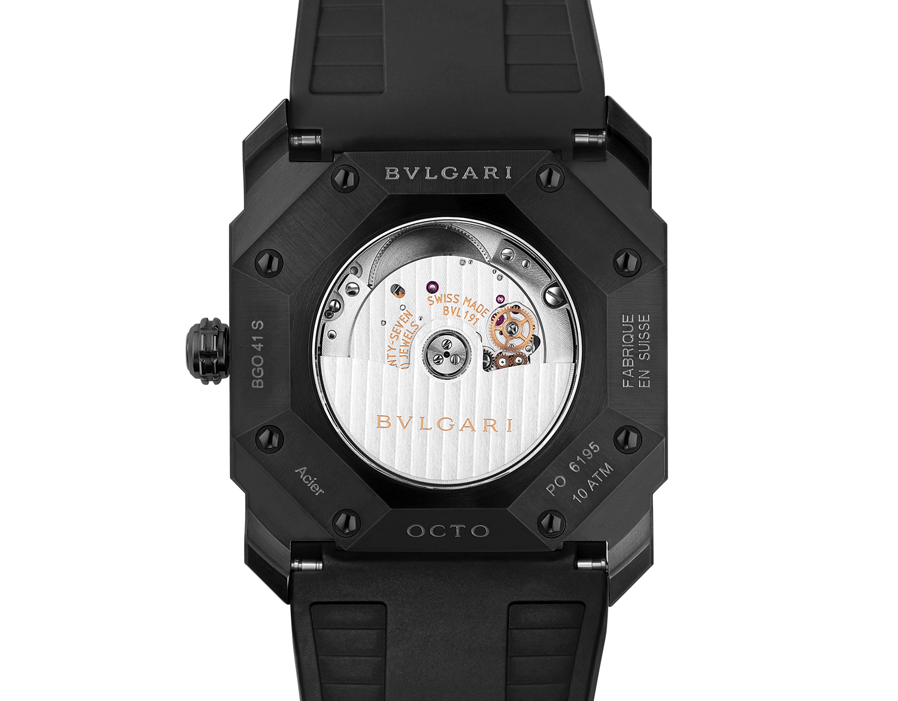 Octo watch with mechanical manufacture movement, automatic winding and date, stainless steel case treated with black Diamond Like Carbon, black lacquered dial and black rubber bracelet. 102737 image 4