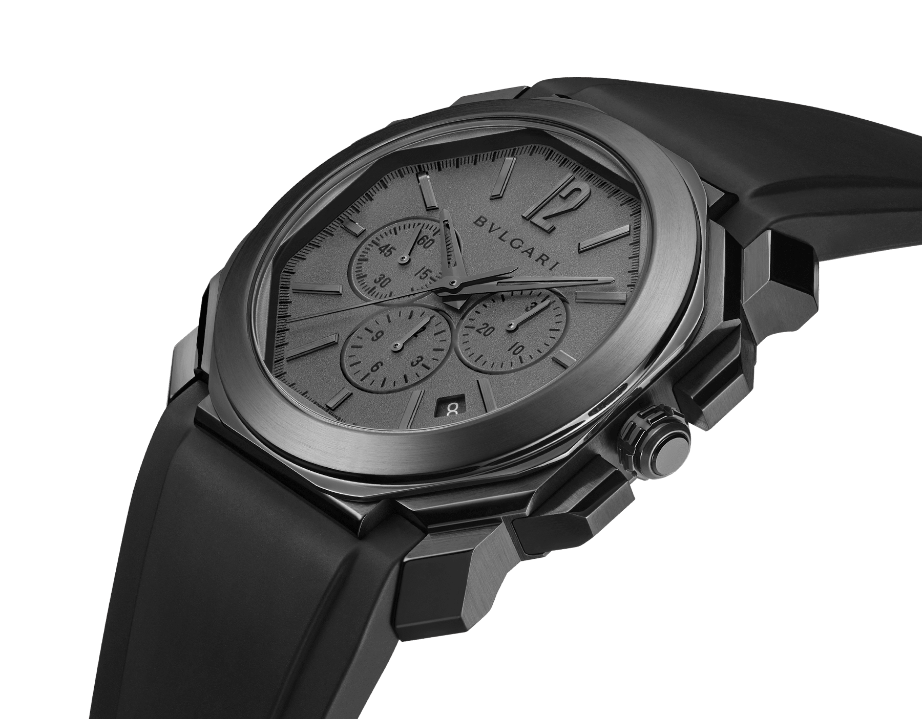 Octo L'Originale watch with mechanical manufacture movement, integrated high-frequency chronograph (5Hz), column wheel mechanism, silicon escapement, automatic winding and date, stainless steel case treated with black Diamond Like Carbon, grey dial and black rubber bracelet 103027 image 2
