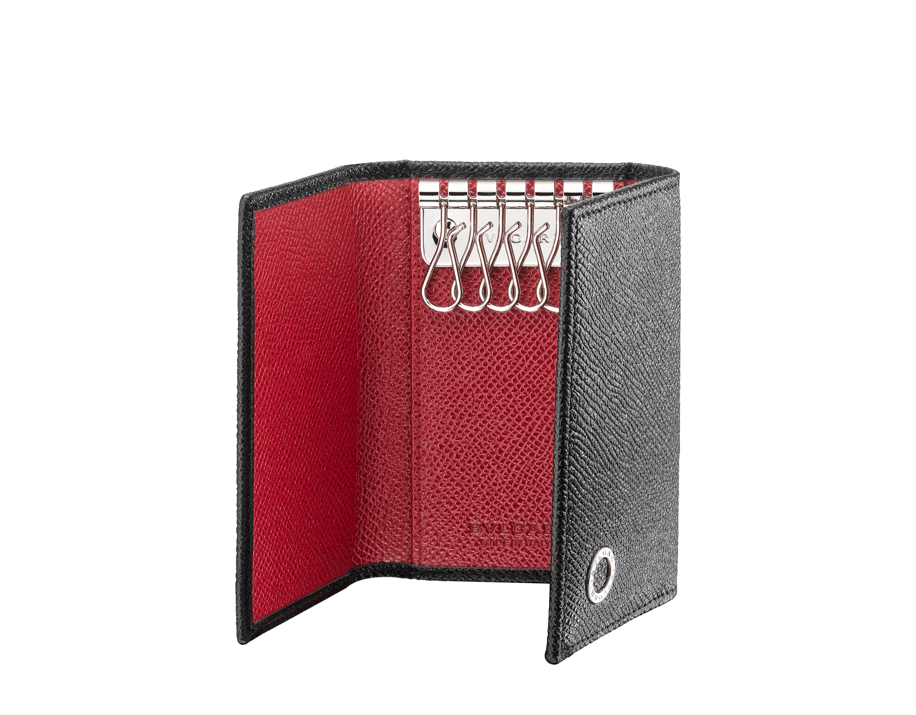 Small keyholder in black and ruby red grain calf leather with brass palladium plated hardware featuring the BVLGARI BVLGARI motif. 288305 image 2