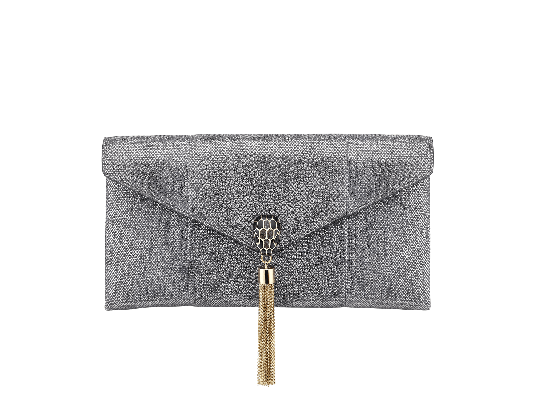 Serpenti evening clutch in charcoal diamond metallic karung skin. Snakehead stud closure with tassel in light gold plated brass decorated with black and glitter charcoal diamond enamel, and black onyx eyes. 288165 image 1