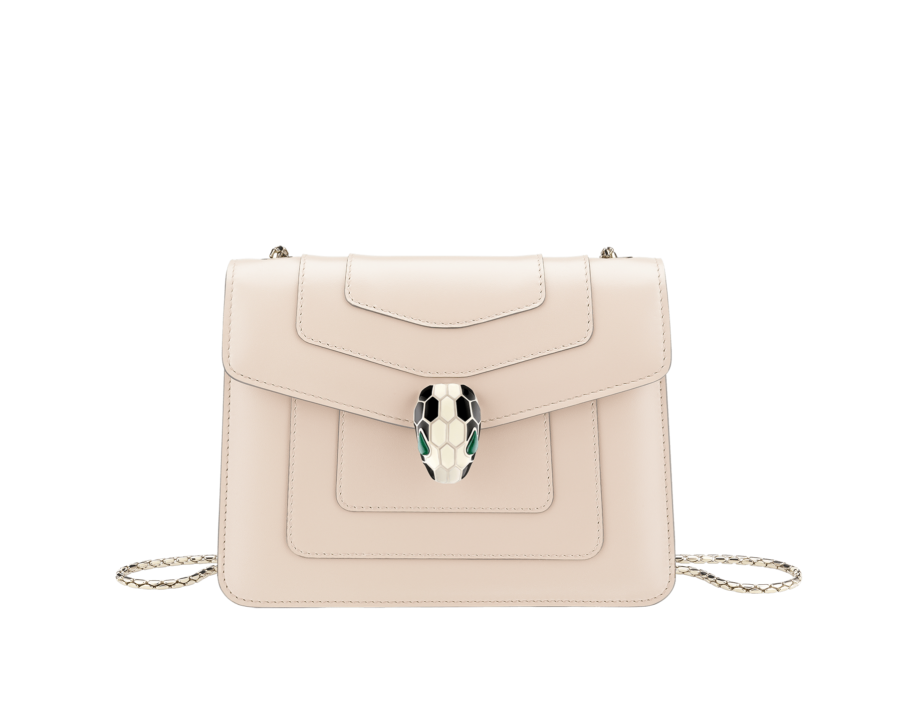 """Serpenti Forever "" crossbody bag in cobalt tourmaline calf leather. Iconic snakehead closure in light gold plated brass enriched with black and white enamel and green malachite eyes 422-CLb image 1"