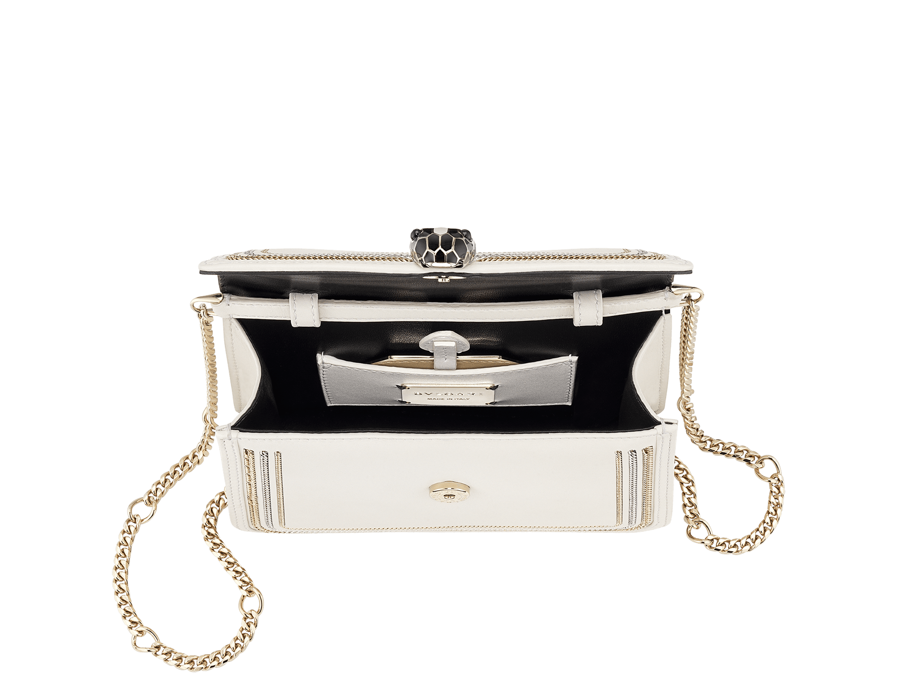 """Serpenti Diamond Blast"" crossbody mini bag in black smooth calf leather, featuring a 3-Chain motif in light gold and palladium finishing. Iconic snakehead closure in light gold plated brass enriched with black and white enamel and black onyx eyes. 987-3CFCL image 4"