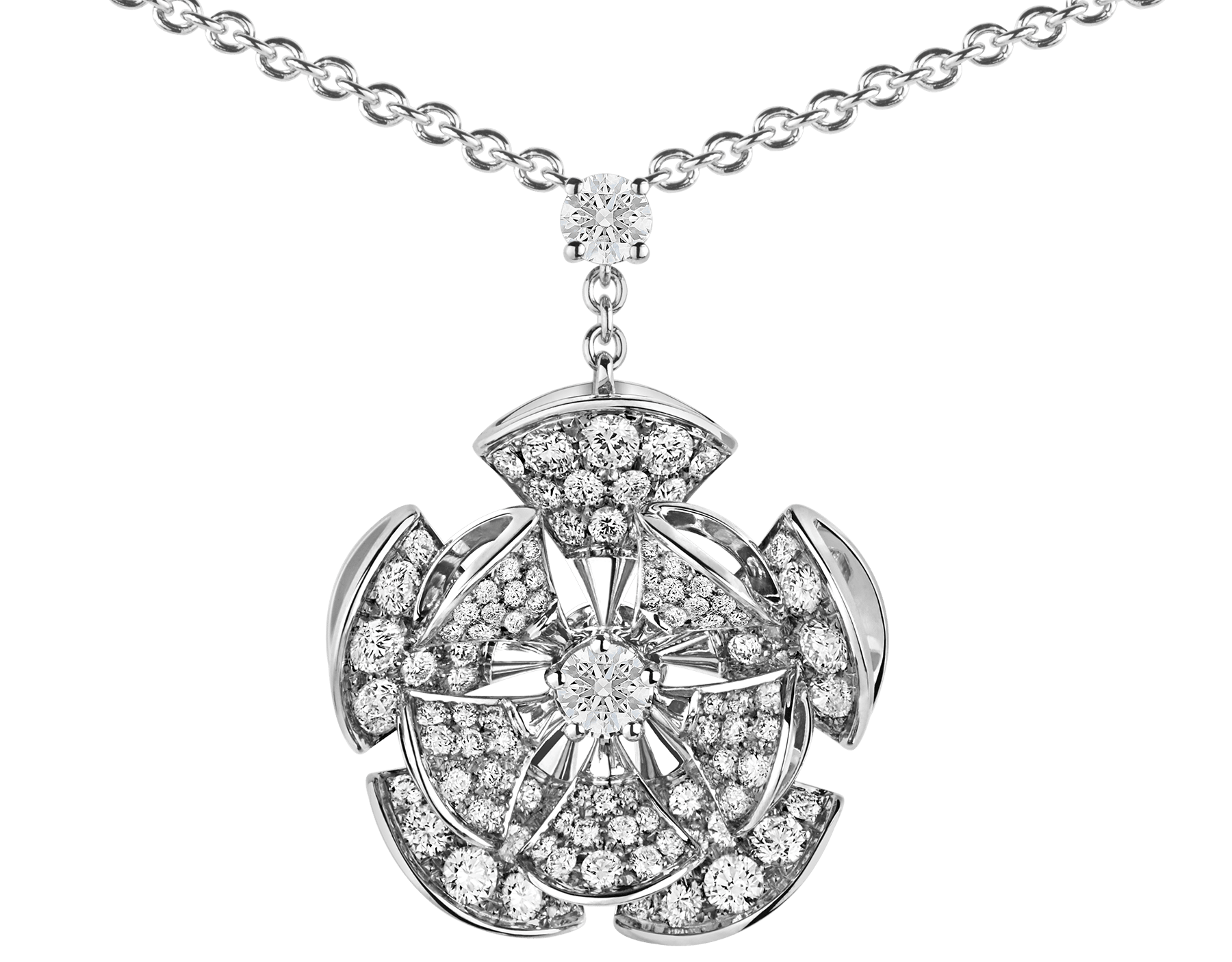 DIVAS' DREAM necklace in 18 kt white gold with a diamond on the chain and 18 kt white gold pendant set with central diamond and full pavé diamonds. 350854 image 3