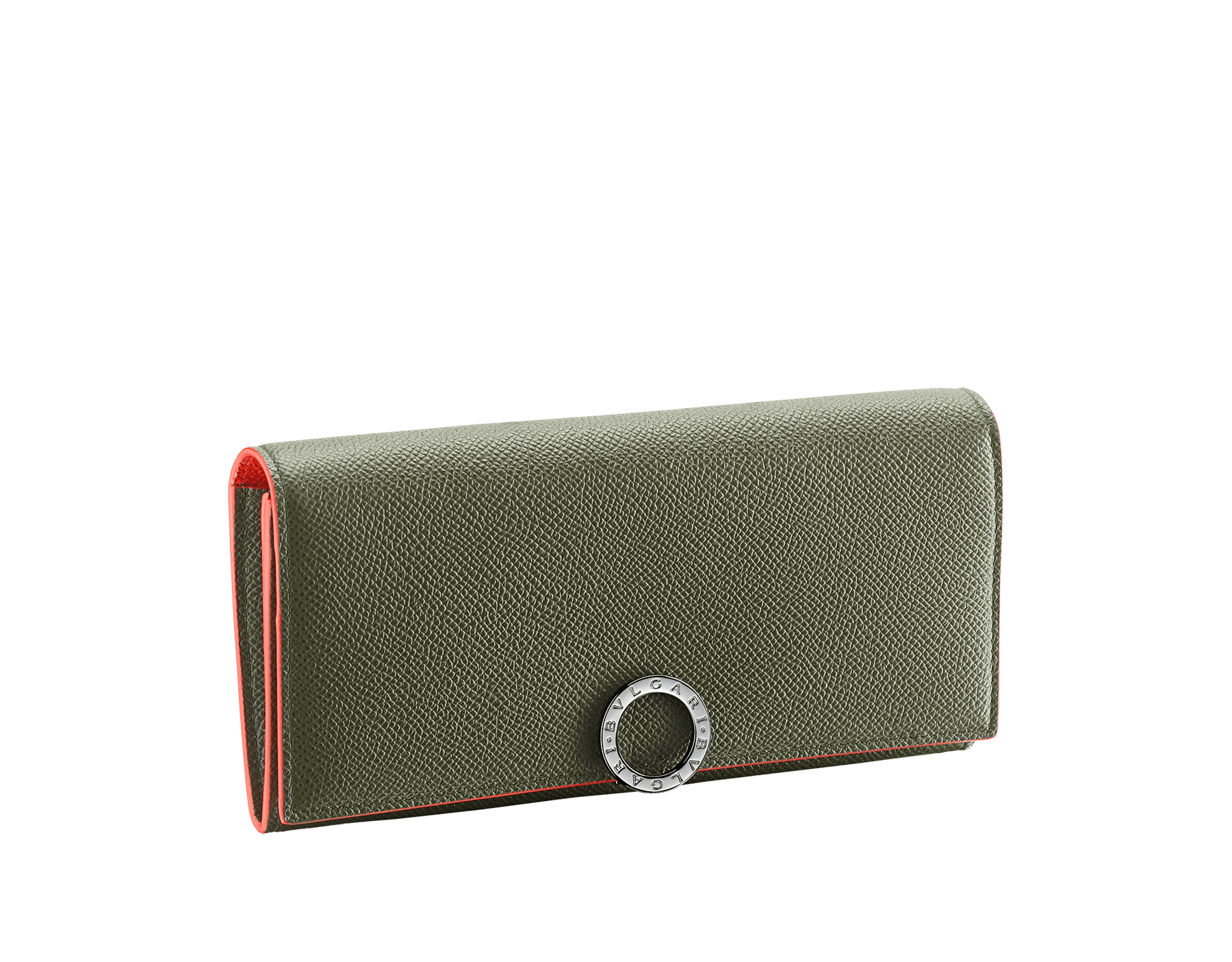 """BVLGARI BVLGARI"" large wallet in mimetic jade and fire amber grain calf leather. Iconic logo closure clip in ruthenium plated brass. BCM-WLT-SLI-POC-CL image 1"