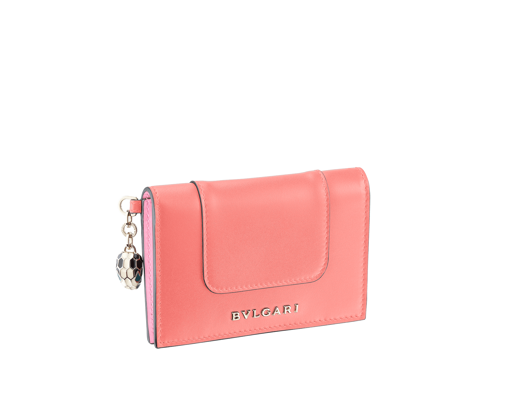 Serpenti Forever folded credit card holder in silky coral and flamingo quartz calf leather. Iconic snakehead charm in black and white enamel, with green malachite enamel eyes. 288823 image 1