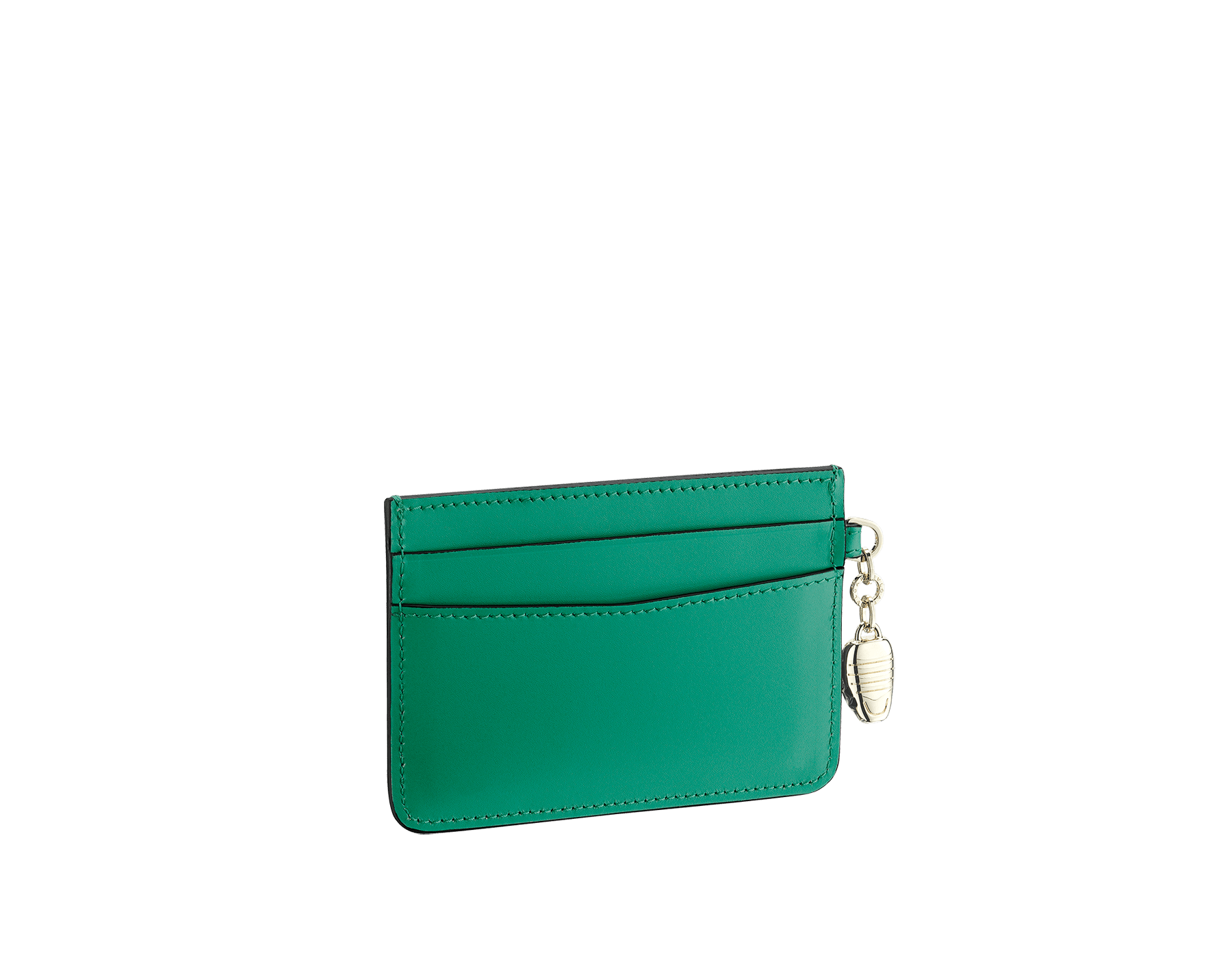 Serpenti Forever card holder in emerald green calf leather. Iconic snakehead charm in black and white agate enamel, with green emerald enamel eyes. 282019 image 2