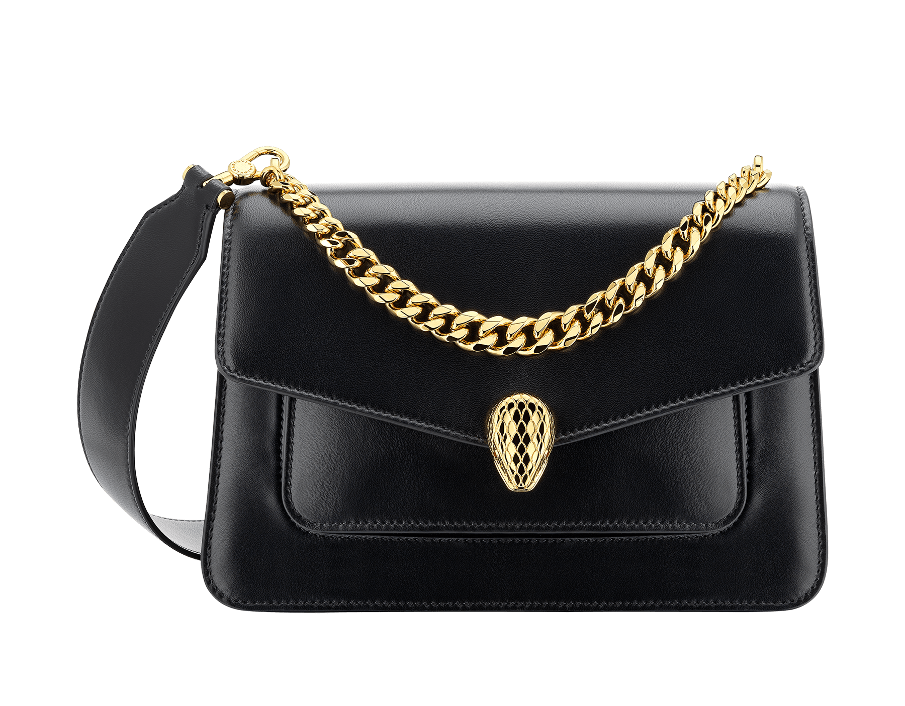 """""""Serpenti Forever"""" maxi chain crossbody bag in black nappa leather, with black nappa leather internal lining. New Serpenti head closure in gold-plated brass, finished with red enamel eyes. 290945 image 1"""