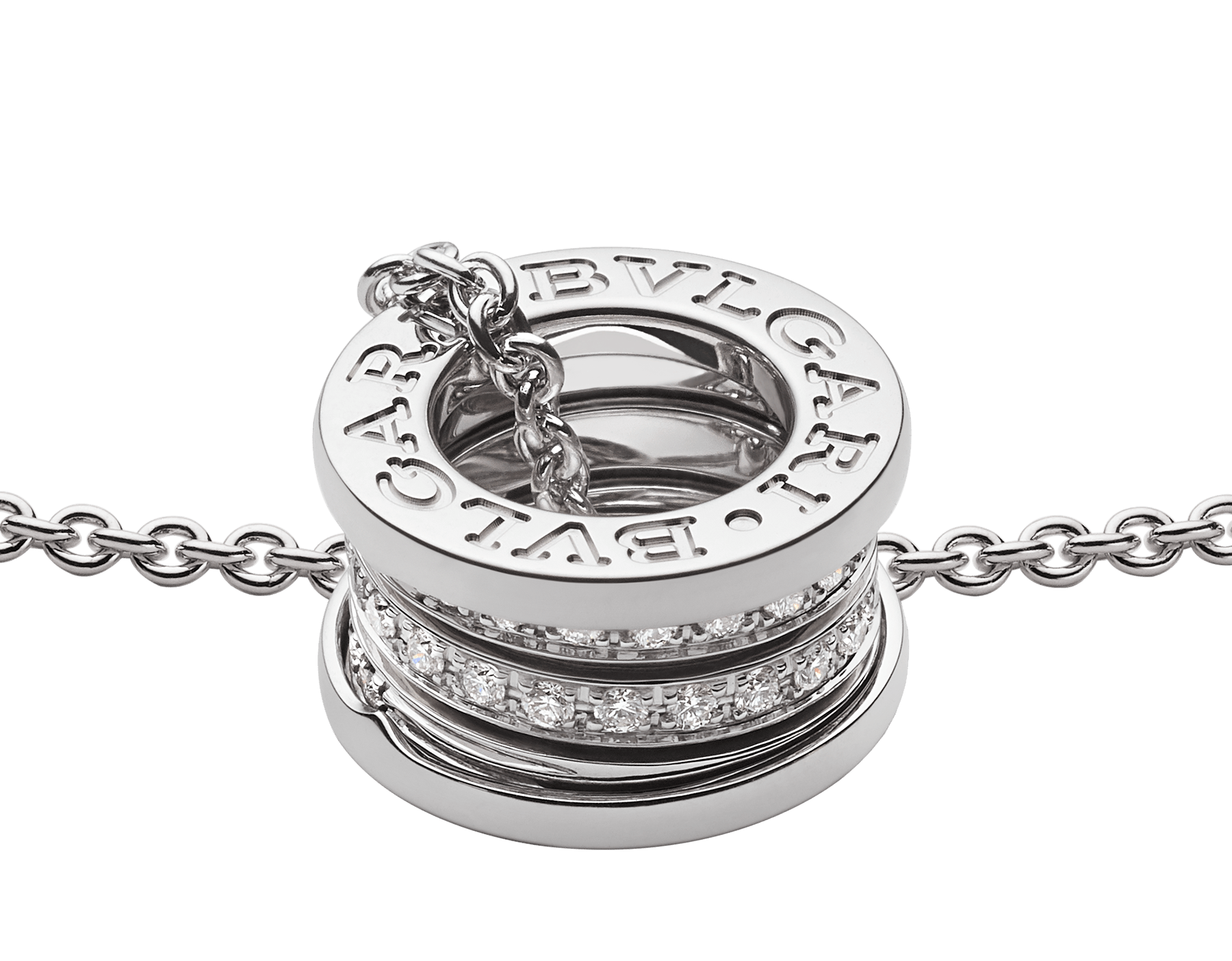 B.zero1 18 kt white gold necklace with small round pendant in 18kt white gold, set with pavé diamonds on the spiral. 352816 image 3
