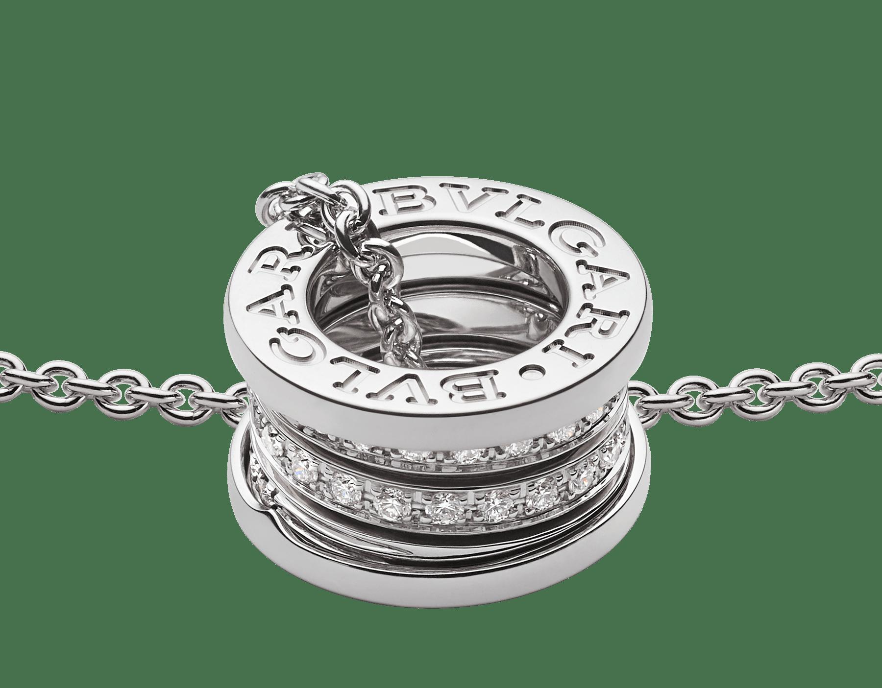 Con la emblemática espiral esculpida con un precioso pavé de diamantes alrededor de una cadena en oro blanco, el collar B.zero1 fusiona su distintivo diseño con la elegancia contemporánea. 352816 image 3