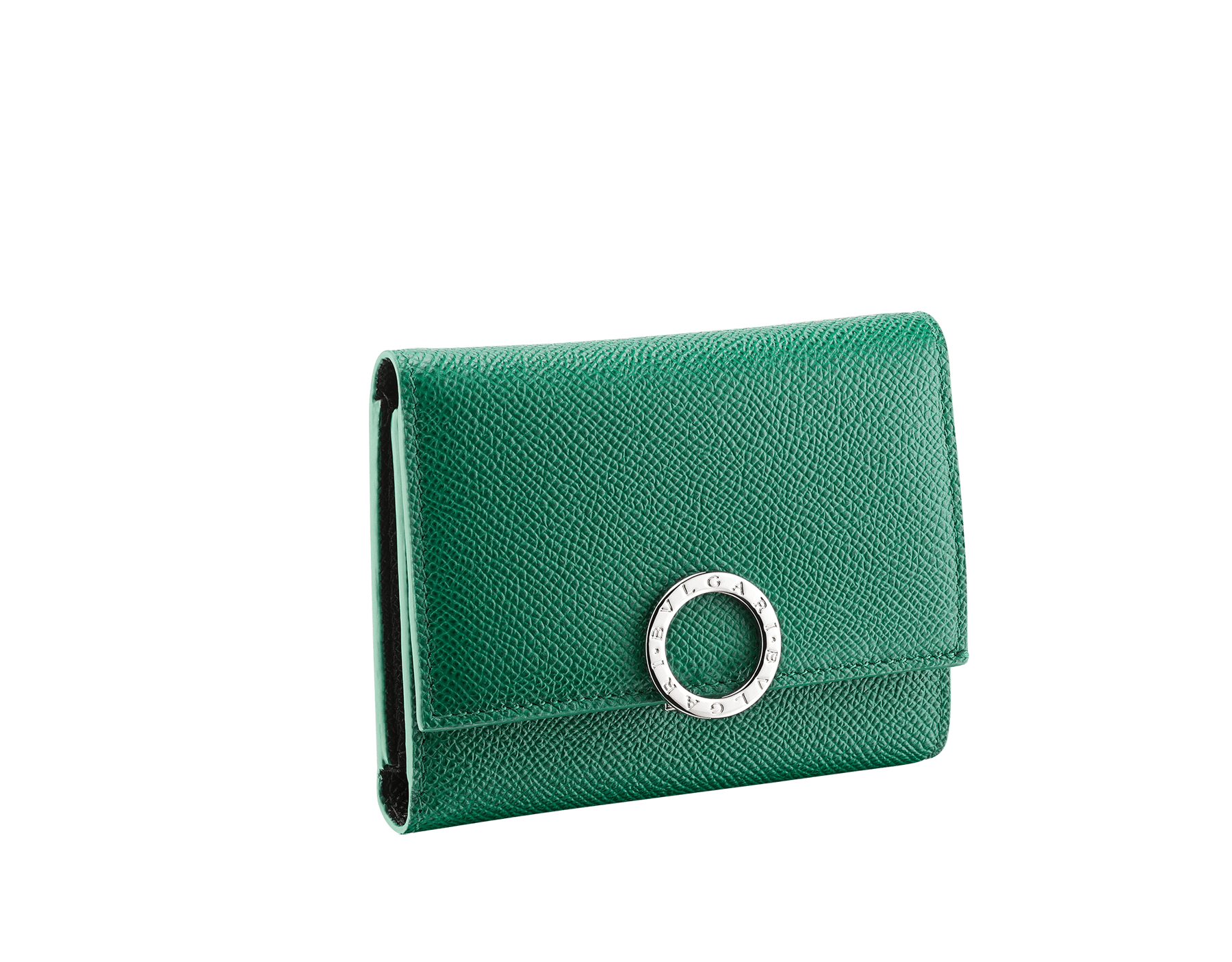 BVLGARI BVLGARI compact wallet for men in emerald green and black grain calf leather. Iconic logo closure clip in palladium-plated brass. BCM-YENCOMPACT image 1