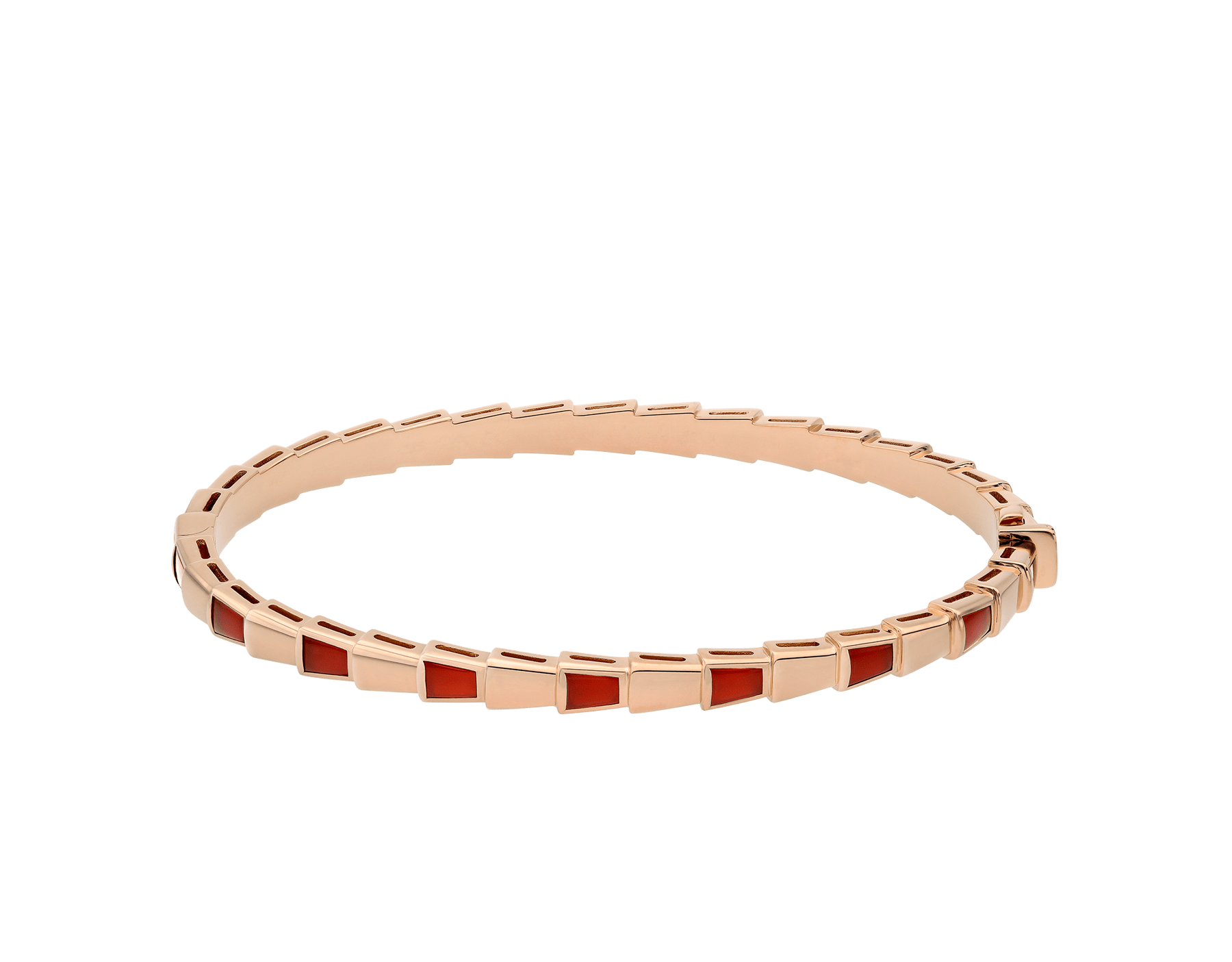Serpenti Viper 18 kt rose gold thin bangle bracelet set with carnelian elements BR858637 image 2