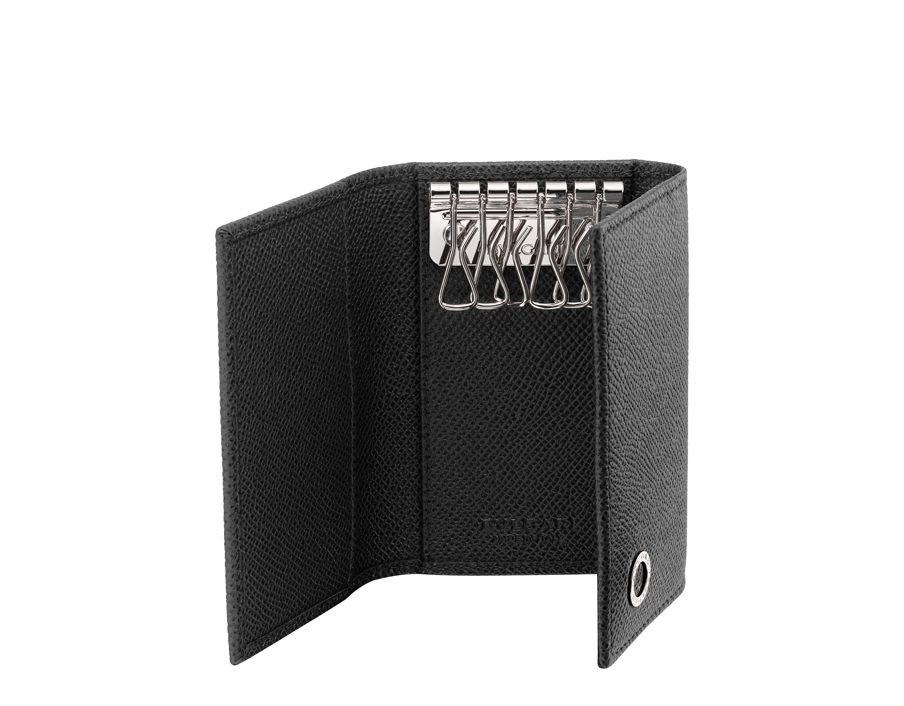 Small keyholder in black grain calf leather with brass palladium plated hardware featuring the Bvlgari-Bvlgari motif. Six internal key holders, two pockets and one open compartment inside. Flap closure with press button. BBM-KEYHOLDER-S image 2