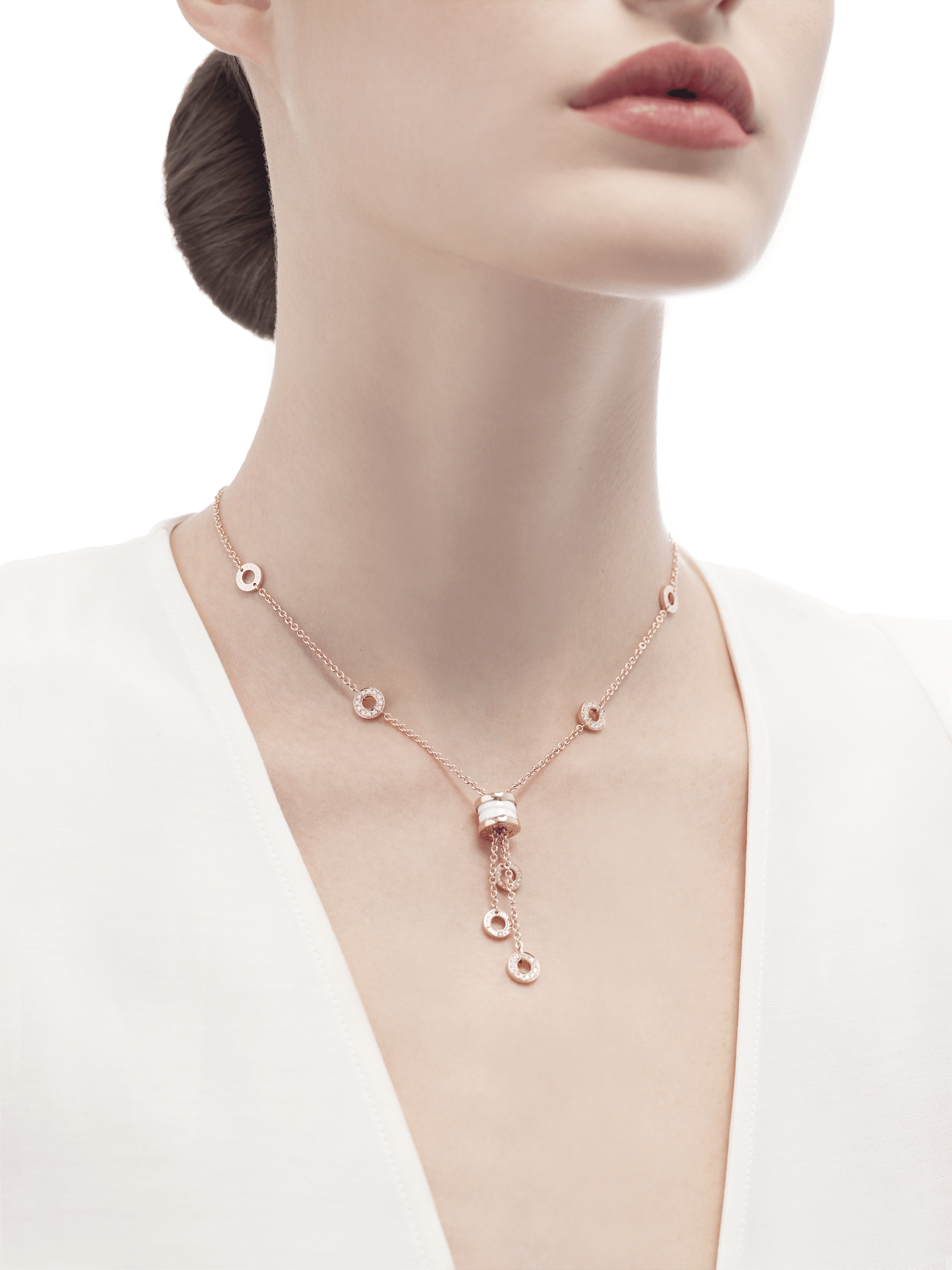 B.zero1 necklace with 18 kt rose gold chain set with pavé diamonds and pendant in 18 kt rose gold and white ceramic. 347577 image 3