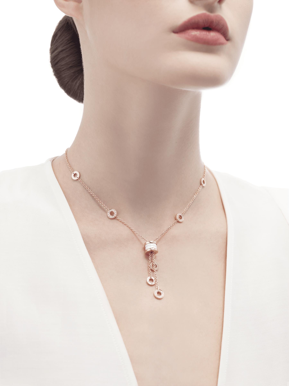 Colar B.zero1 com corrente em ouro rosa 18K cravejada com pavê de diamantes, pingente em ouro rosa 18K e cerâmica branca. 347577 image 3