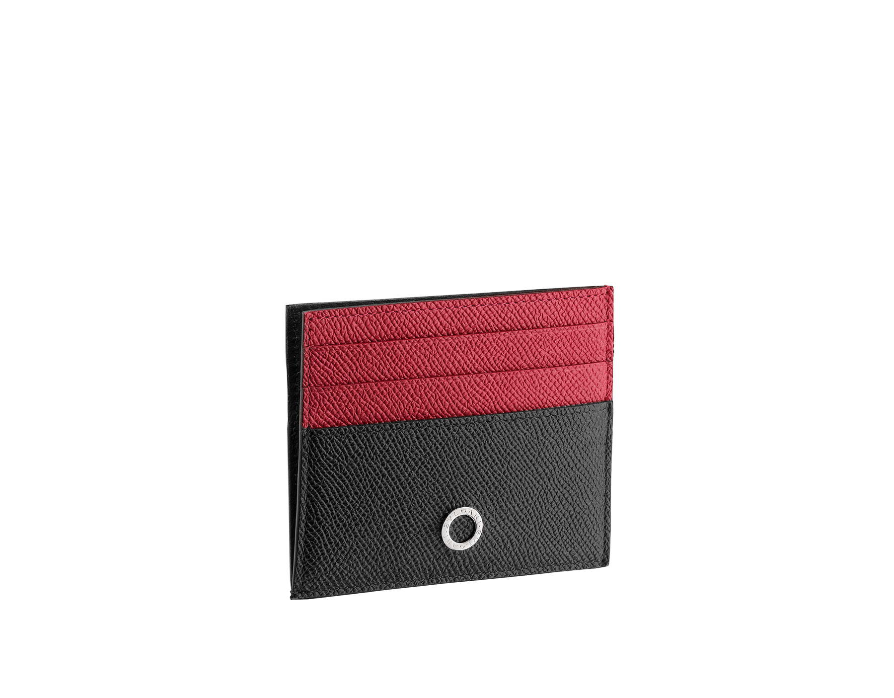 BVLGARI BVLGARI open credit card holder in black and ruby dahlia grain calf leather and black nappa lining. Iconic logo décor in palladium plated brass. 288309 image 1