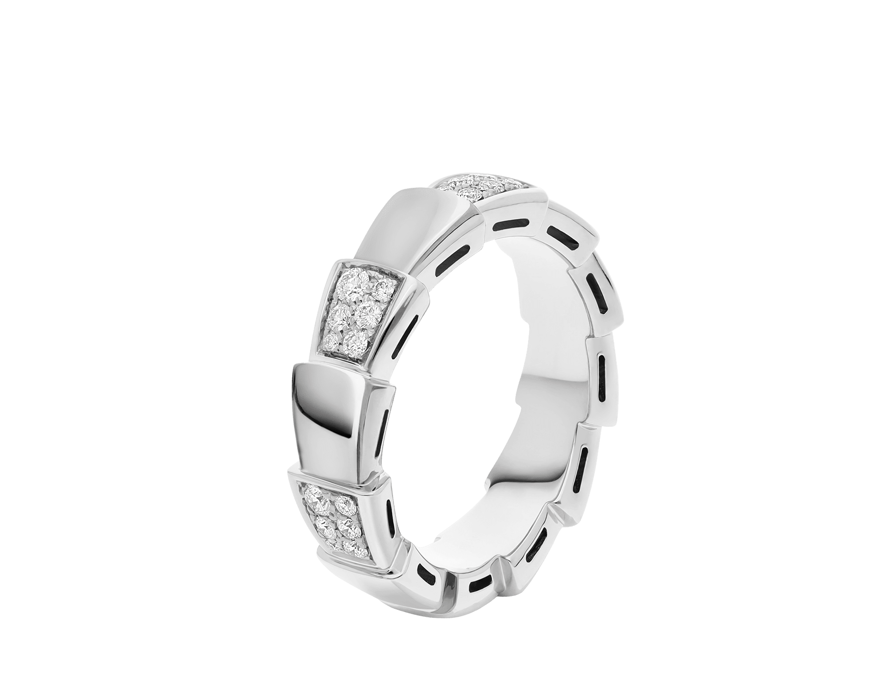 Serpenti Viper band ring in 18 kt white gold set with demi pavé diamonds (0.43 ct). AN857931 image 1