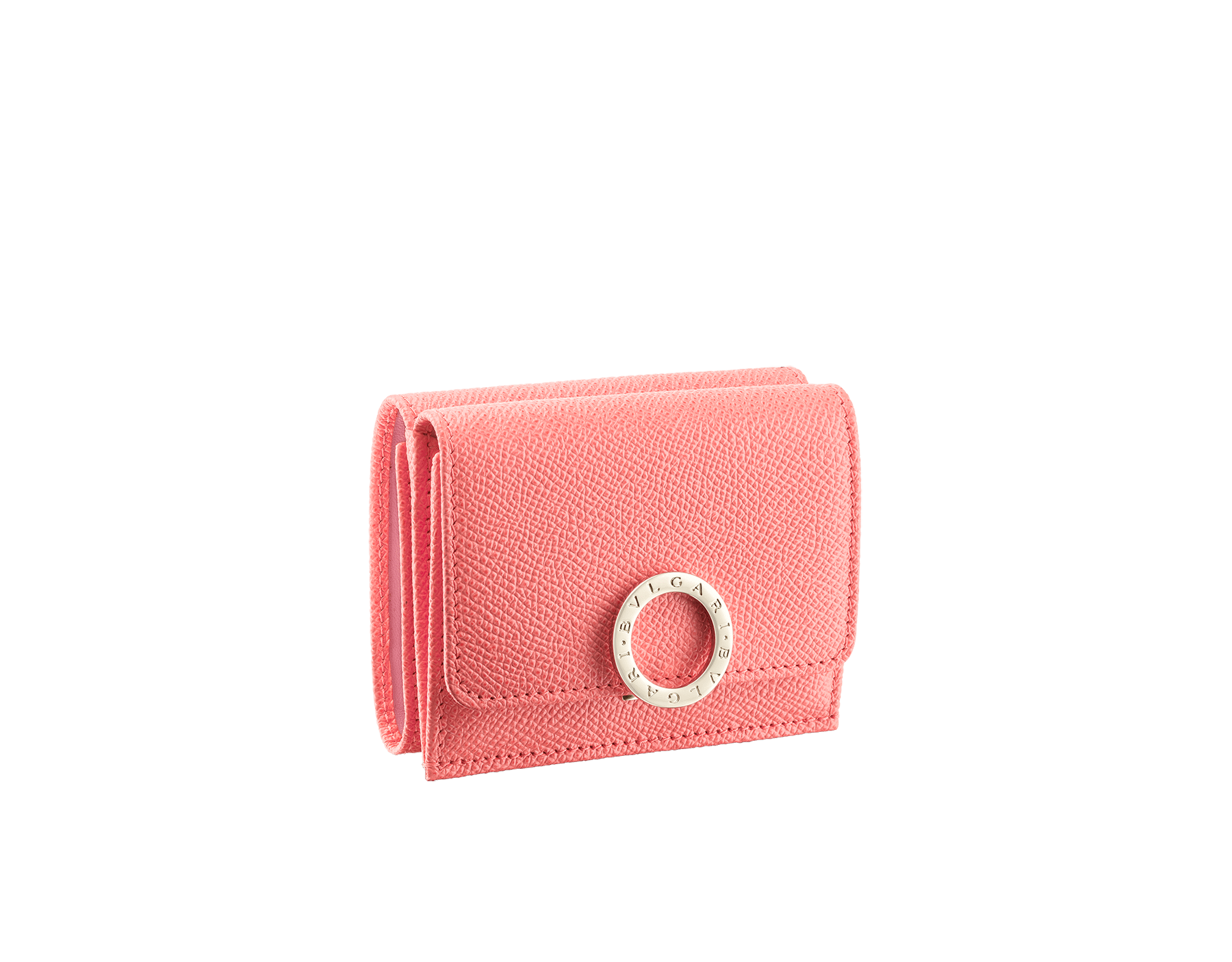 BVLGARI BVLGARI compact wallet in silky coral bright grain calf leather and flamingo quartz nappa leather. Iconic logo clip closure in light gold plated brass on the flap and press stud closure on the body. 289066 image 1