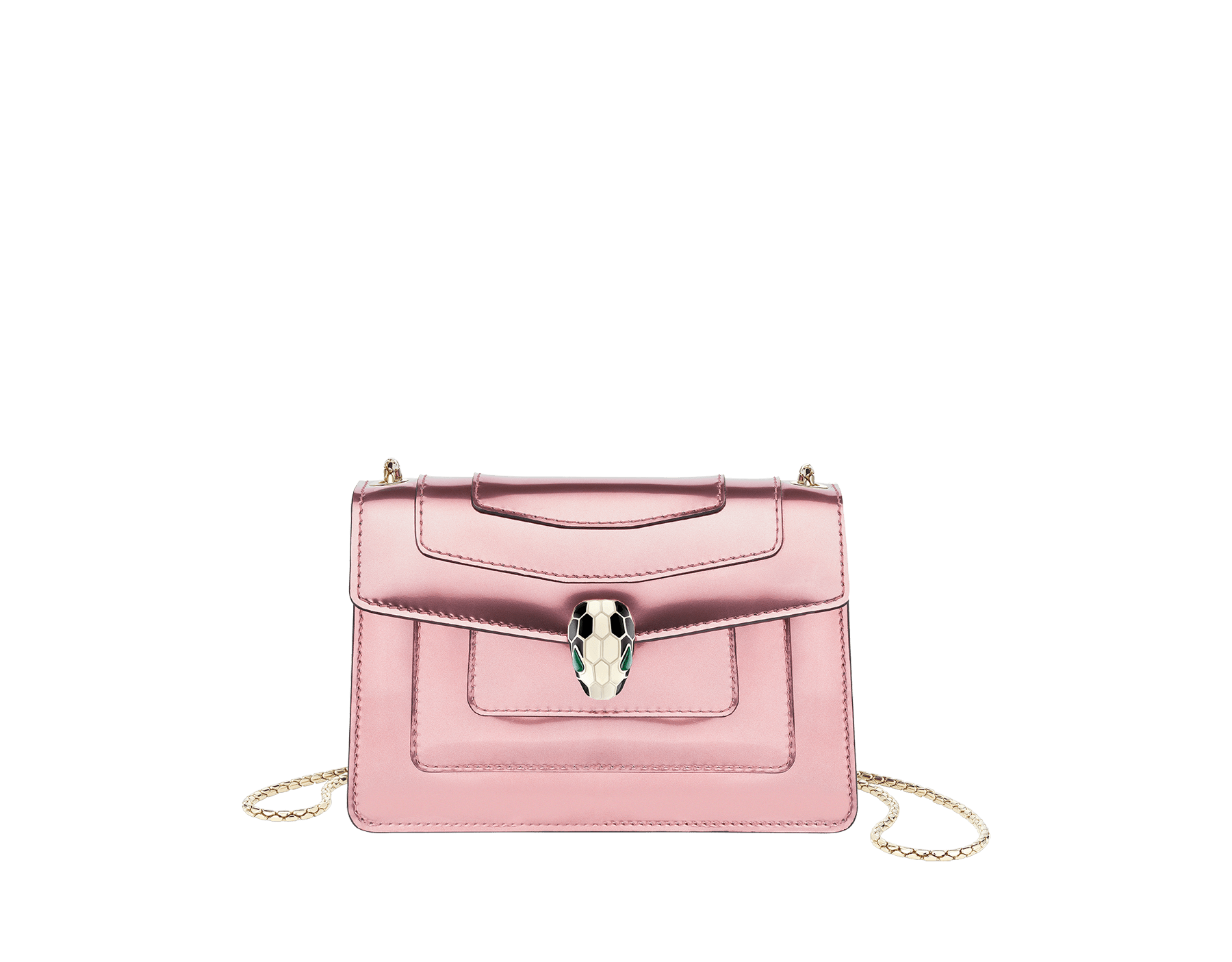 Serpenti Forever mini crossbody bag in sunset rose brushed metallic calf leather. Brass light gold-plated snake head closure in black and white enamel, with green malachite eyes. 288052 image 1