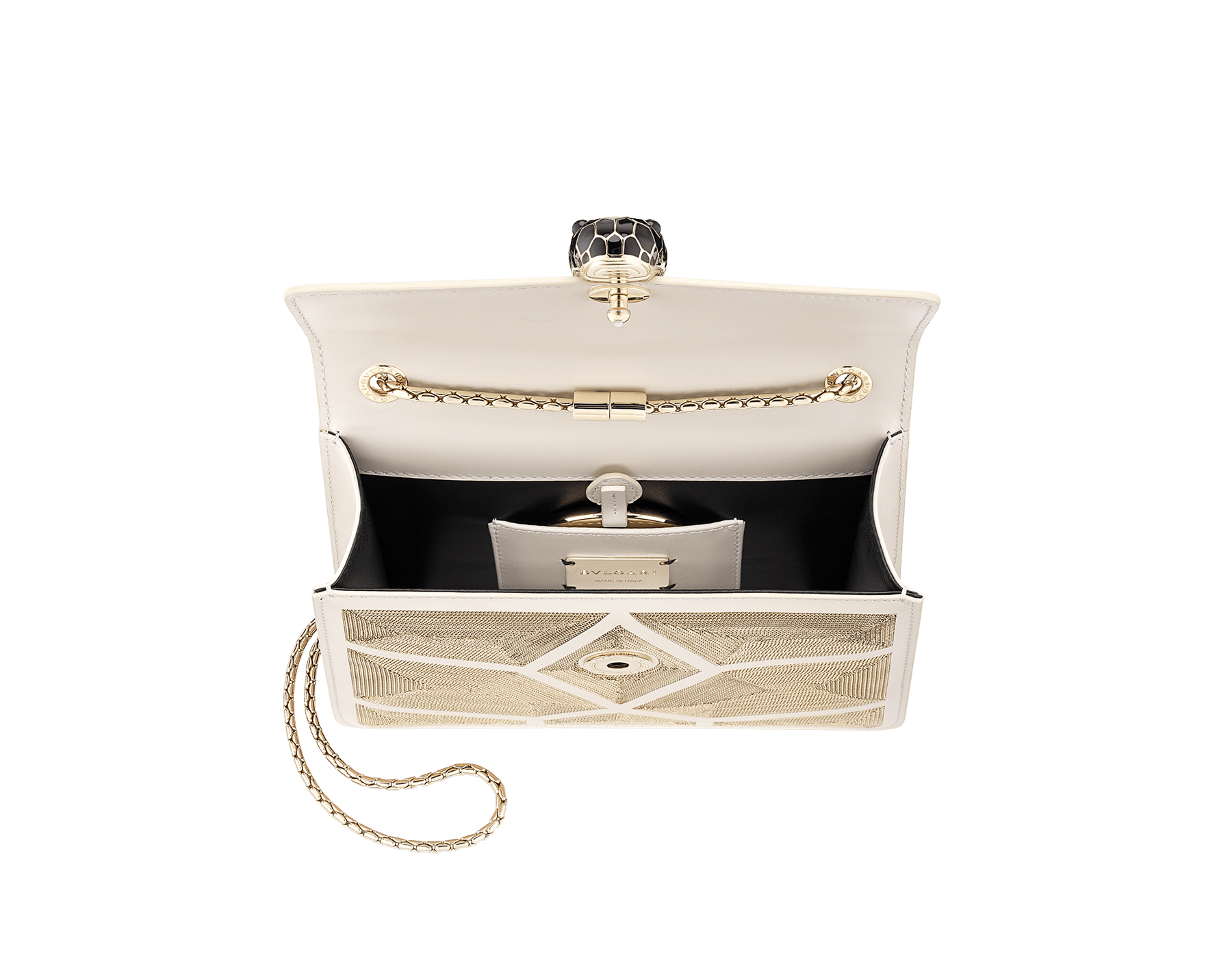 """Serpenti Forever"" crossbody bag in white agate calf leather with ""Million Chain"" décor. Iconic snake head closure in light gold plated brass enriched with black and white agate enamel, and black onyx eyes. 288907 image 4"