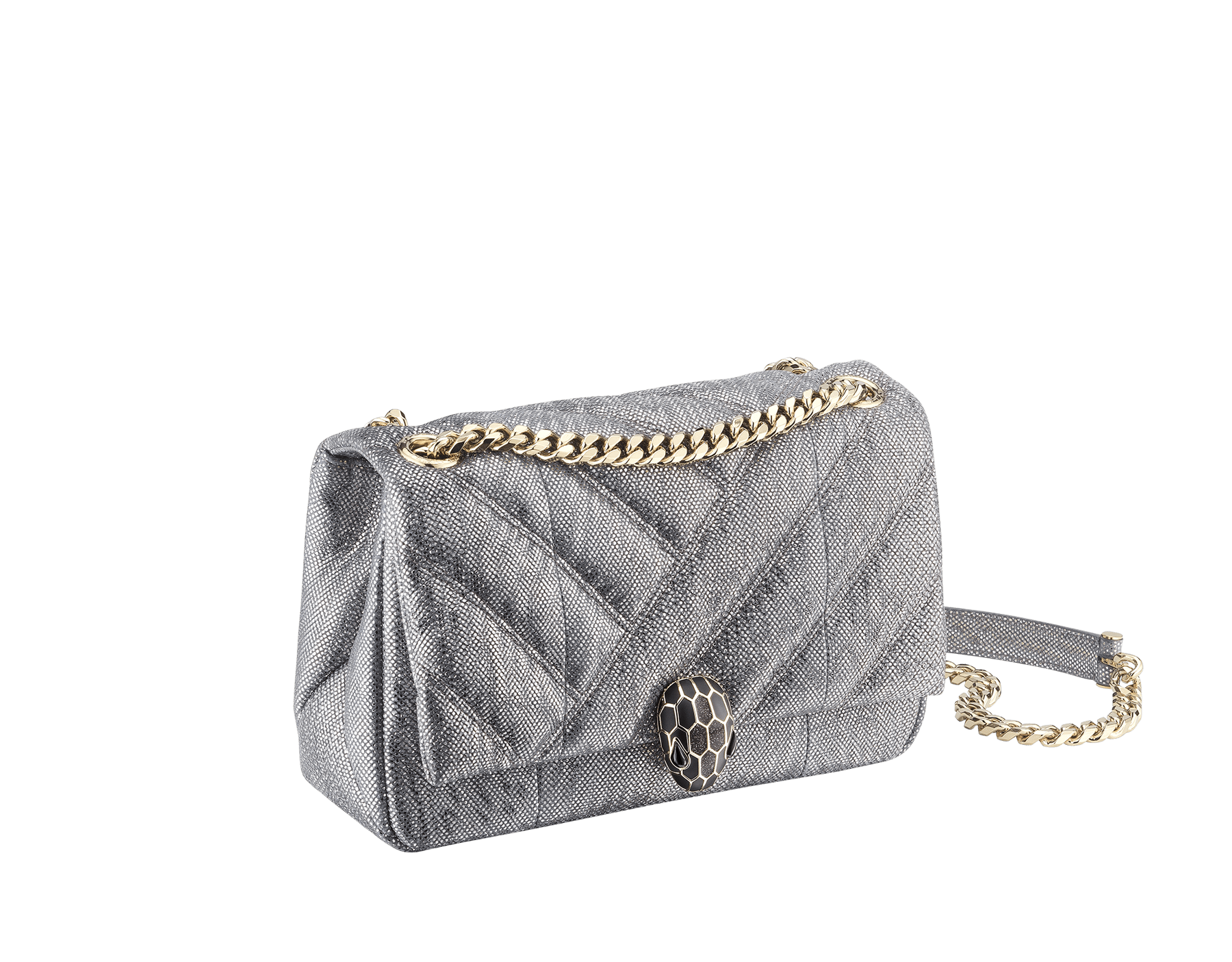 Serpenti Cabochon shoulder bag in soft matelassé charcoal diamond metallic karung skin with graphic motif. Snakehead closure in light gold plated brass decorated with matte black and glitter charcoal diamond enamel, and black onyx eyes. 288617 image 2