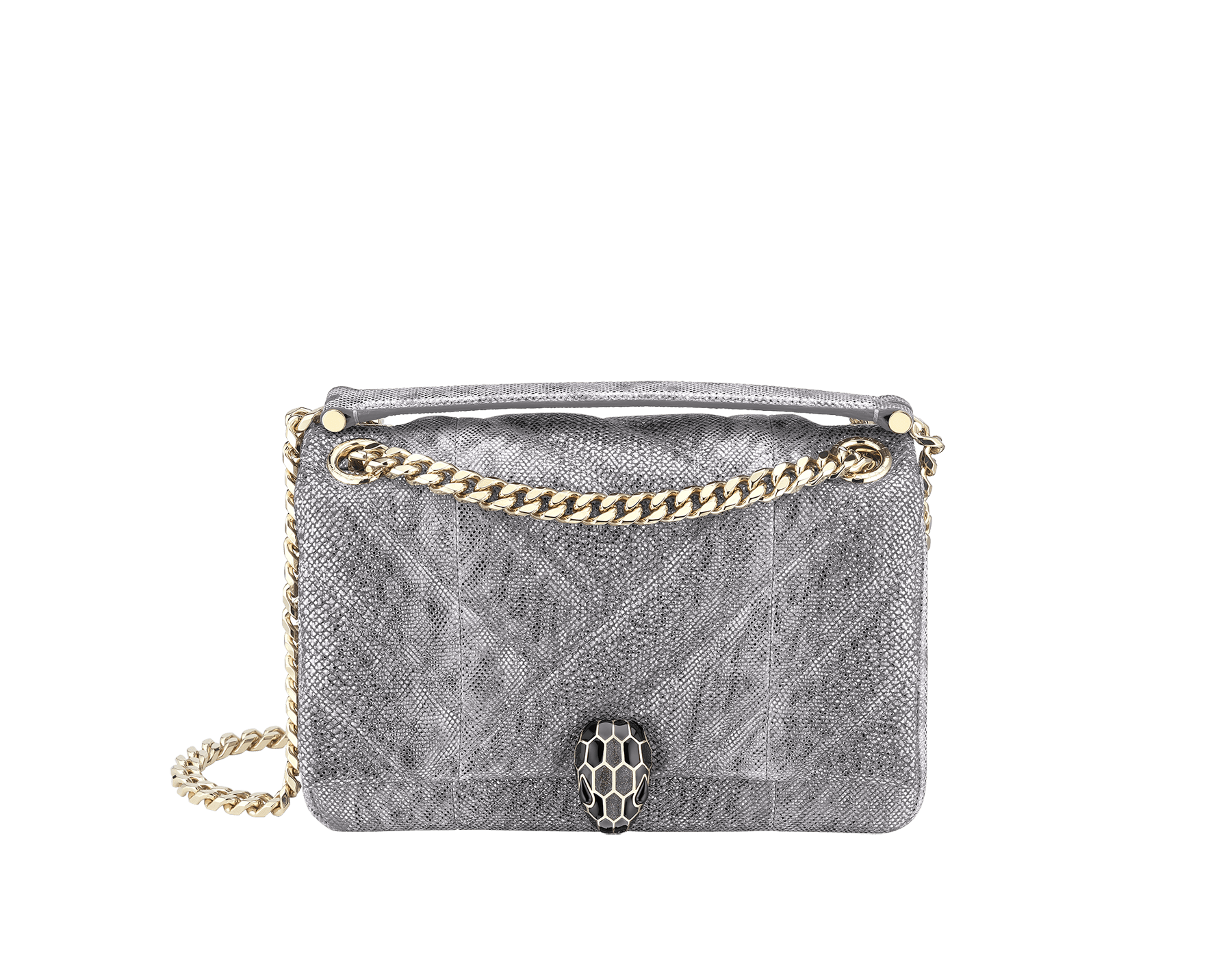 Serpenti Cabochon shoulder bag in soft matelassé charcoal diamond metallic karung skin with graphic motif. Snakehead closure in light gold plated brass decorated with matte black and glitter charcoal diamond enamel, and black onyx eyes. 288617 image 1