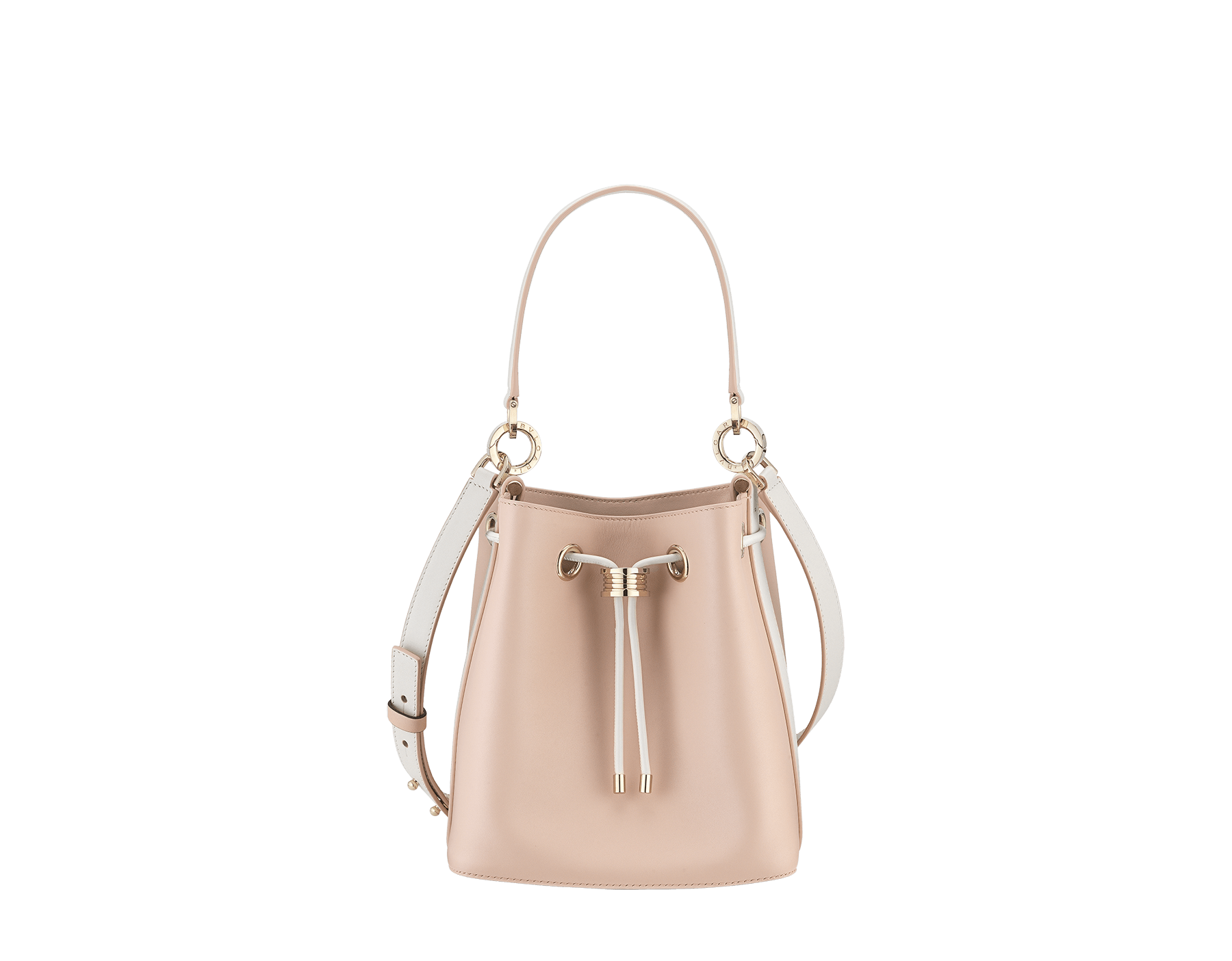 """B.zero1"" bucket bag in crystal rose smooth calf leather body and white agate smooth calf leather sides and crystal rose nappa leather lining. Hardware in light gold plated brass, featuring a B.zero1 décor. 989-BCL image 1"