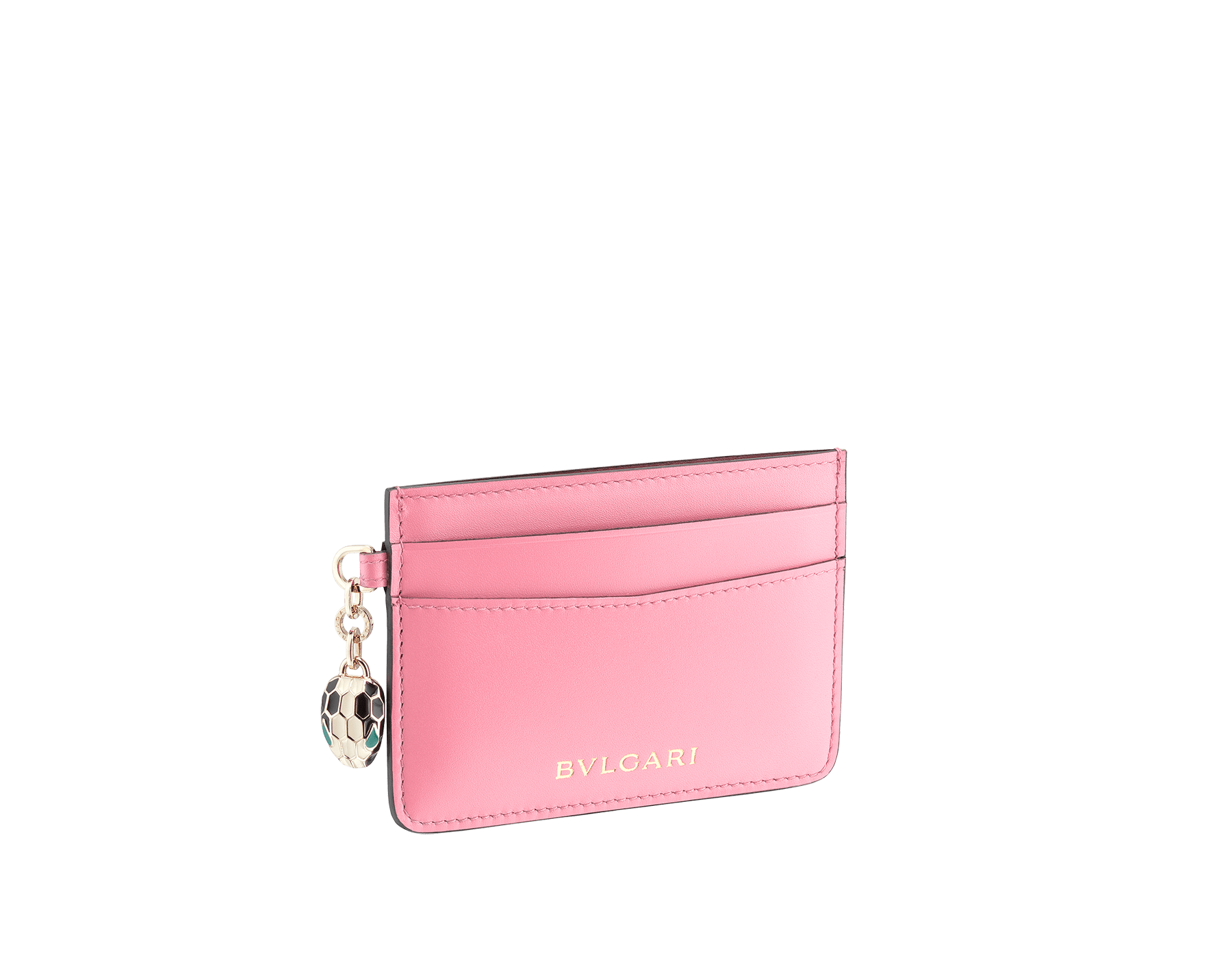 Serpenti Forever credit card holder in flamingo quartz and roman garnet calf leather. Iconic snakehead charm in black and white enamel, with green malachite enamel eyes. 288018 image 1