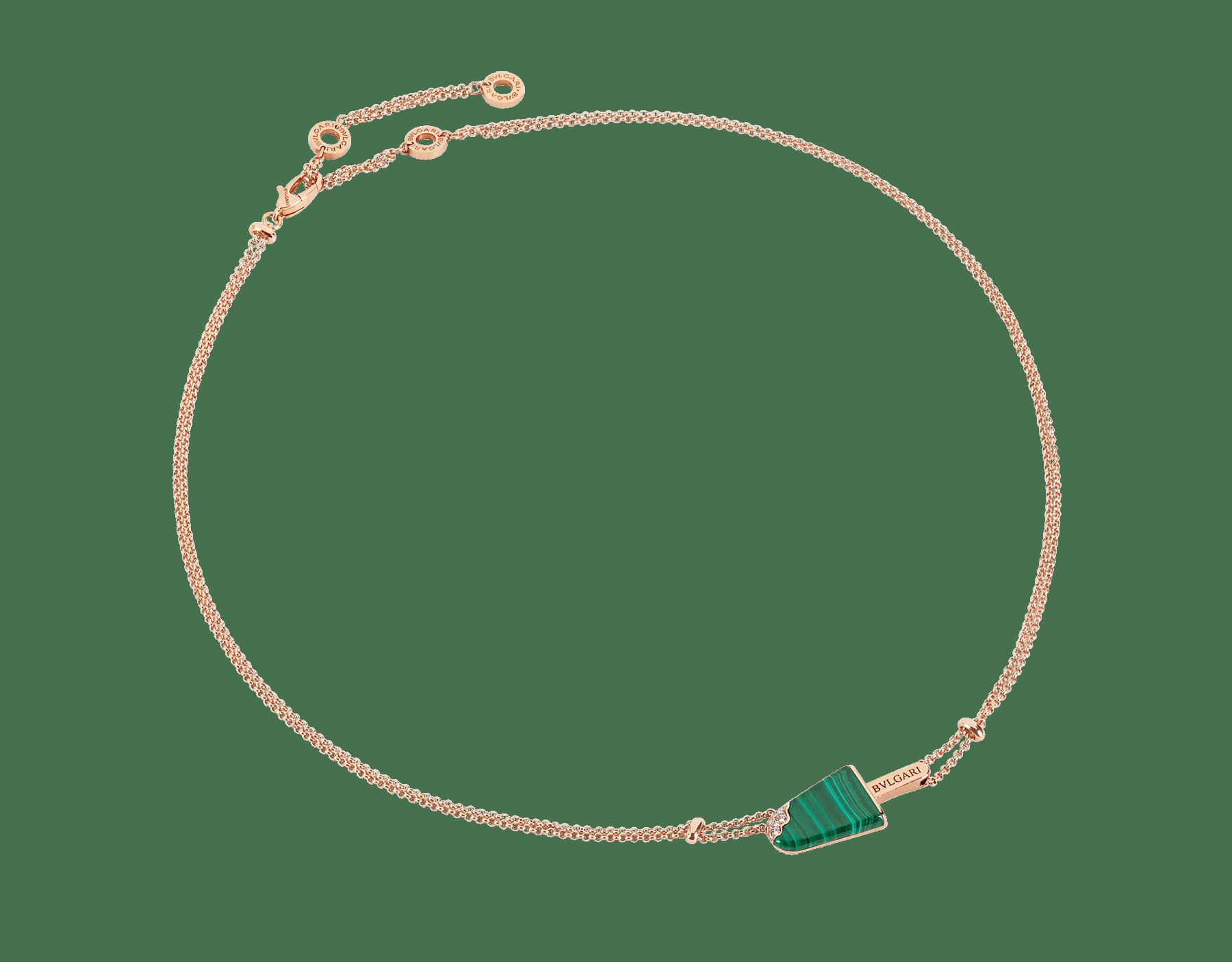 BVLGARI BVLGARI Gelati 18K 玫瑰金項鍊,鑲飾孔雀石和密鑲鑽石。 356186 image 1