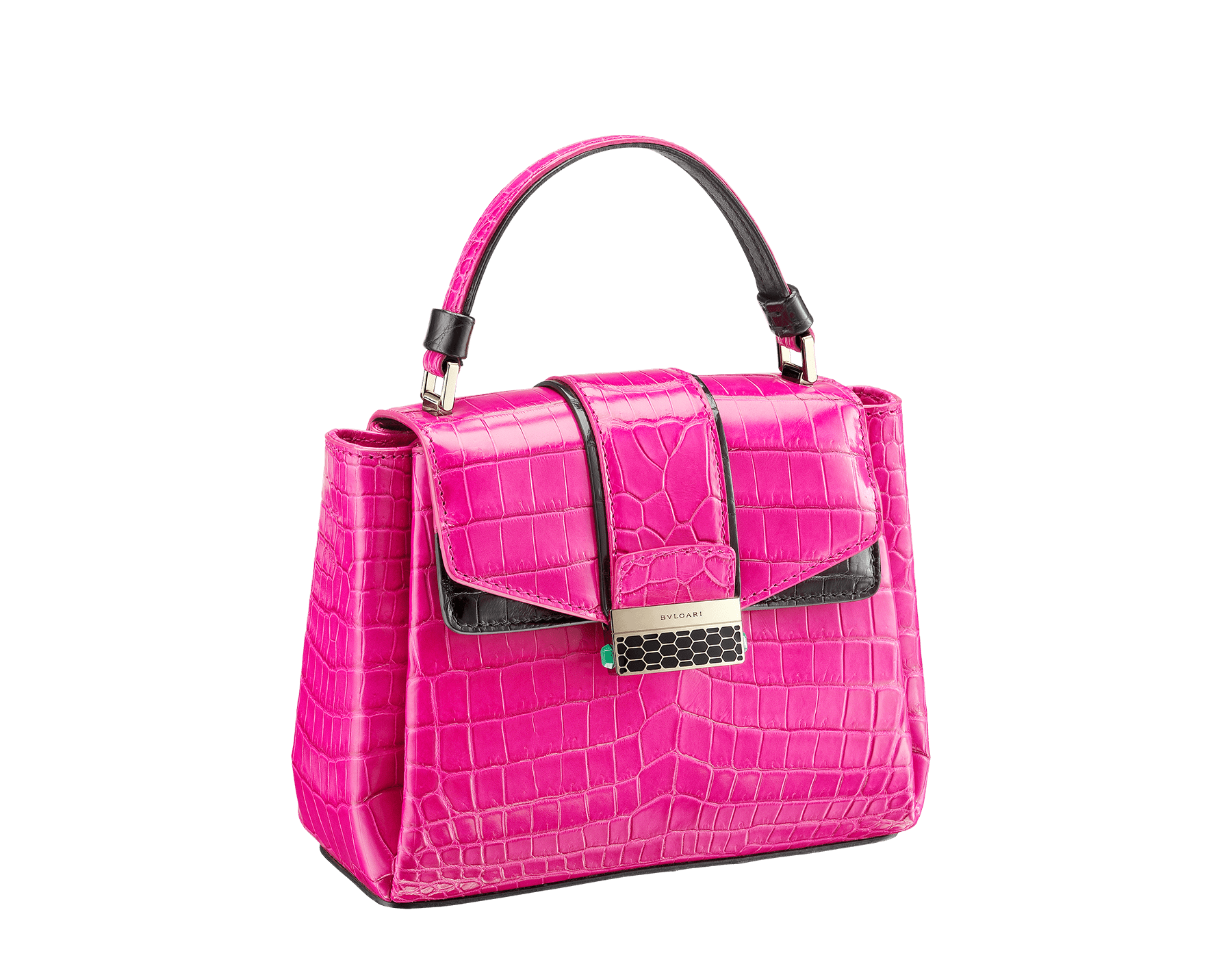 Top handle bag Serpenti Viper in pink spinel and black shiny crocodile skin. 282923 image 2