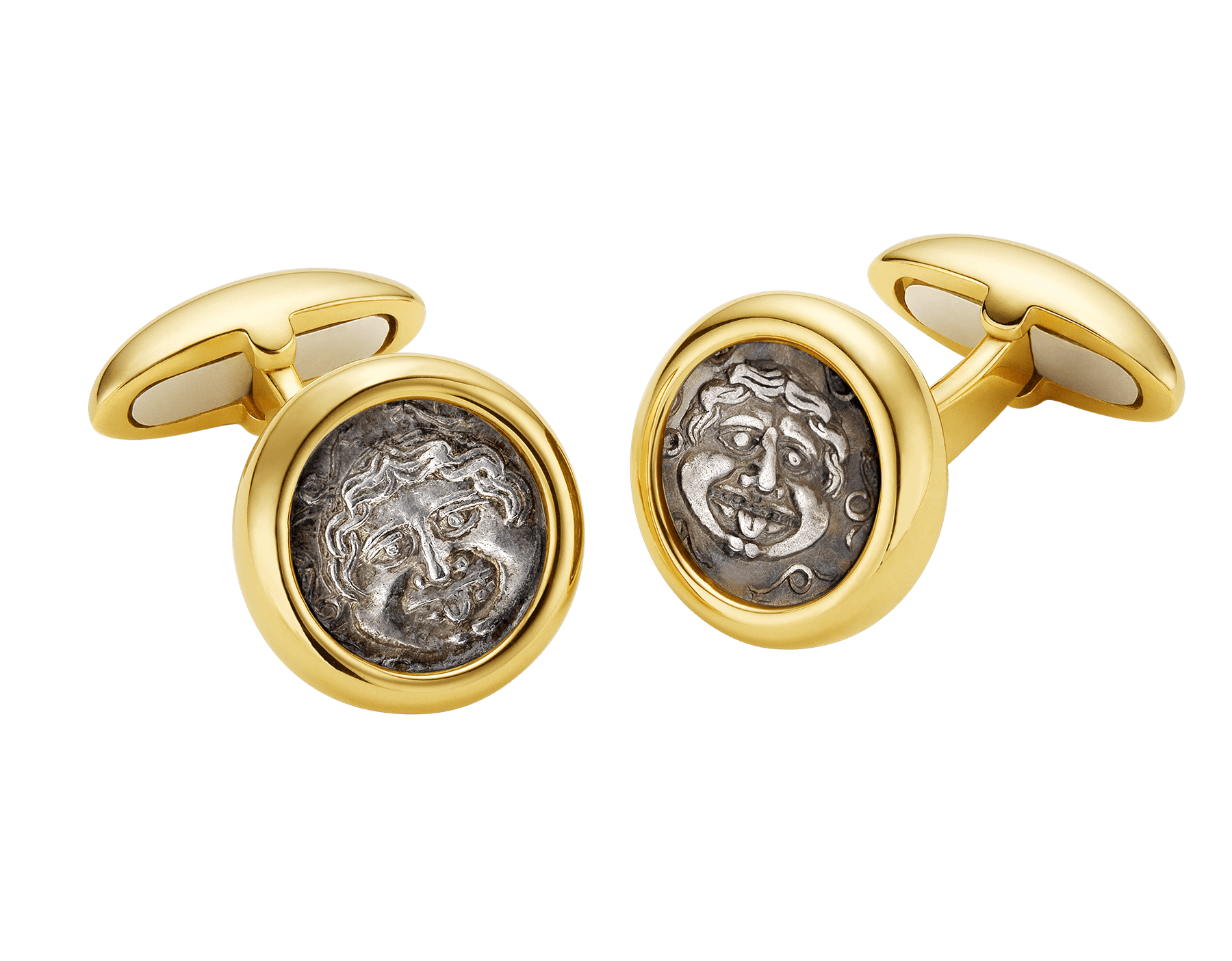 Monete 18 kt yellow gold cufflinks set with antique coins 309385 image 1