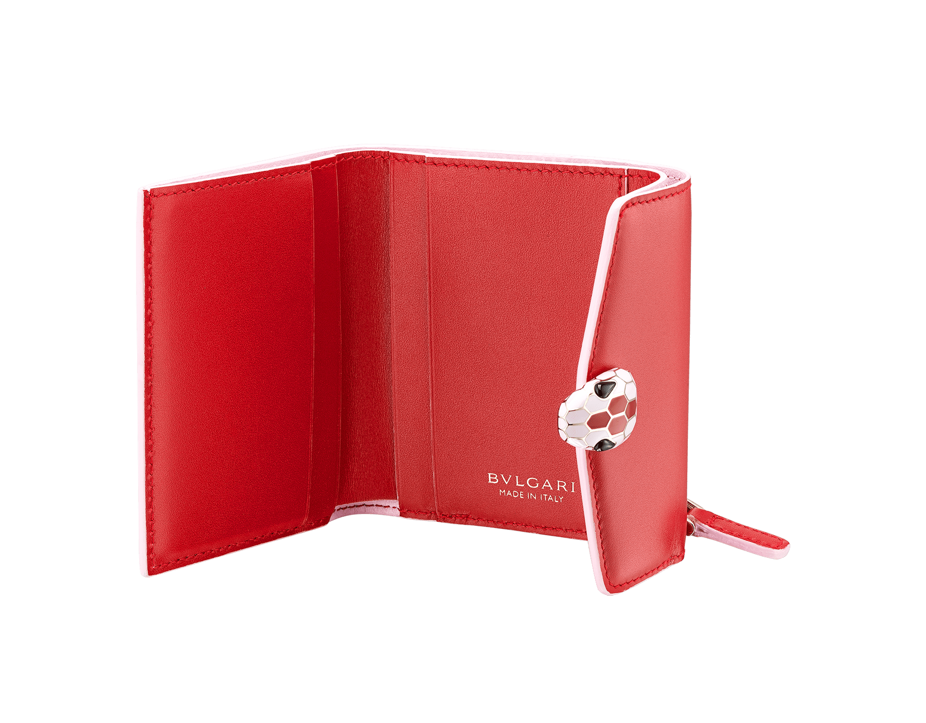 Serpenti Forever slim compact wallet in ruby red calf leather and rosa di francia goatskin. Iconic snakehead stud closure in rosa di francia and ruby red enamel, with black onyx eyes. 289203 image 2