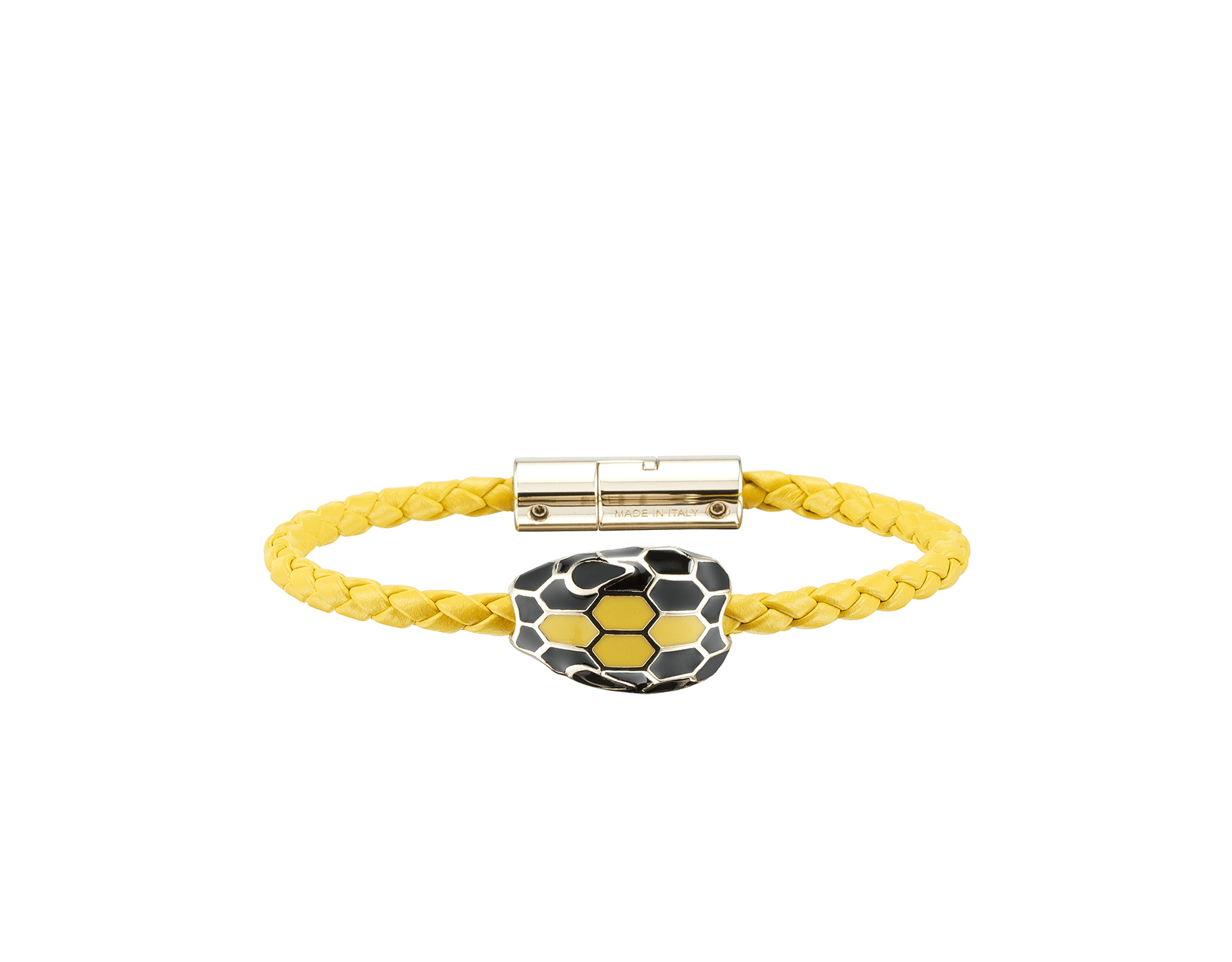 Serpenti Forever braid bracelet in daisy topaz woven calf leather with the iconic snakehead décor in black and daisy topaz enamel with seductive black enamel eyes. SerpBraid-WCL-DT image 1