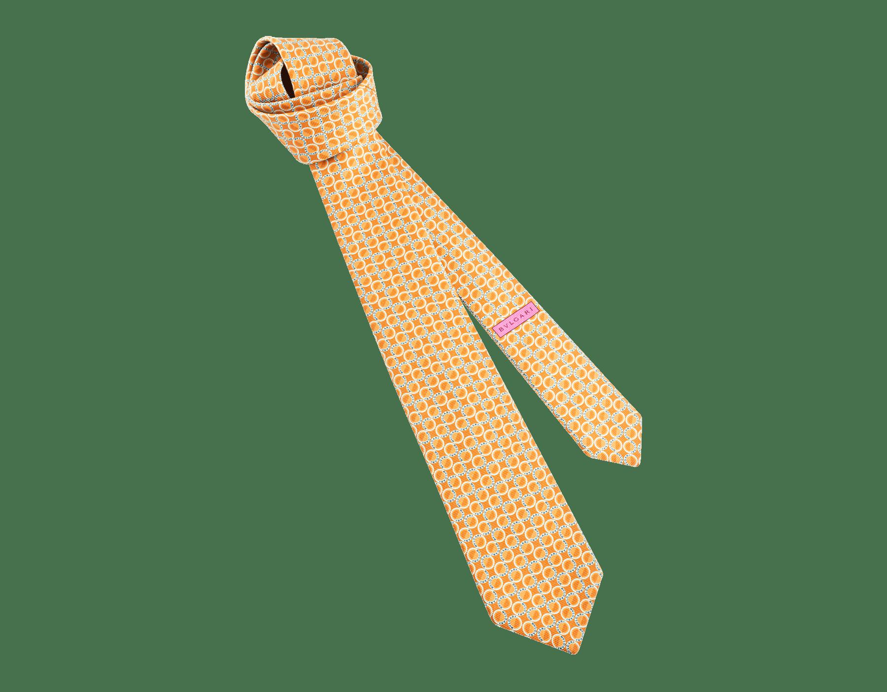 Cravate sept plis Logo Moonphase couleur safran en fine serge de soie imprimée. 243616 image 1