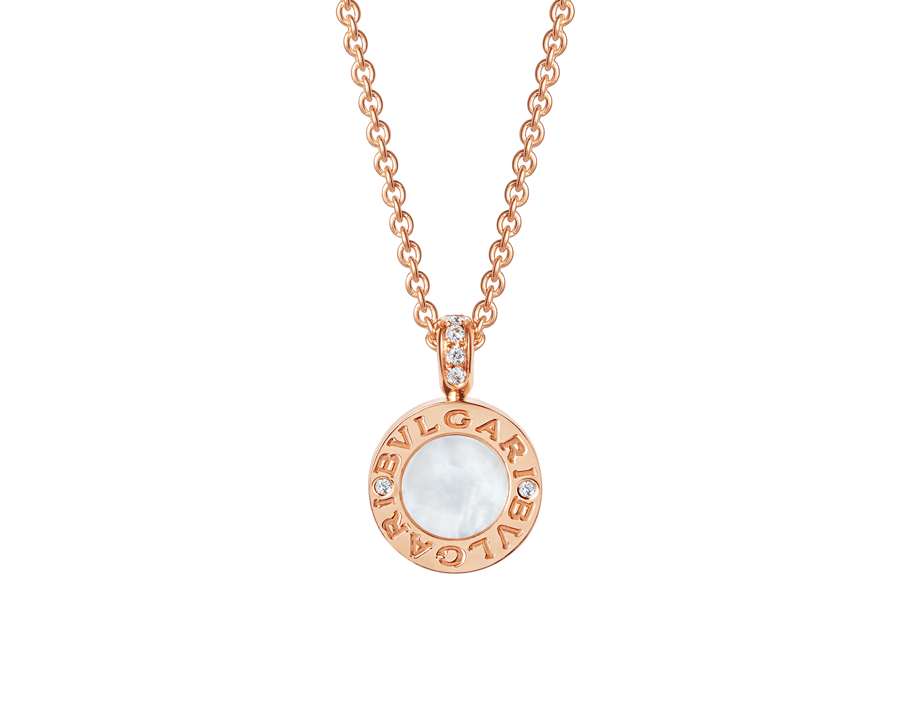 BVLGARI BVLGARI 18 kt rose gold chain and 18 kt rose gold pendant set with mother-of-pearl, onyx and pavé diamonds 347761 image 1