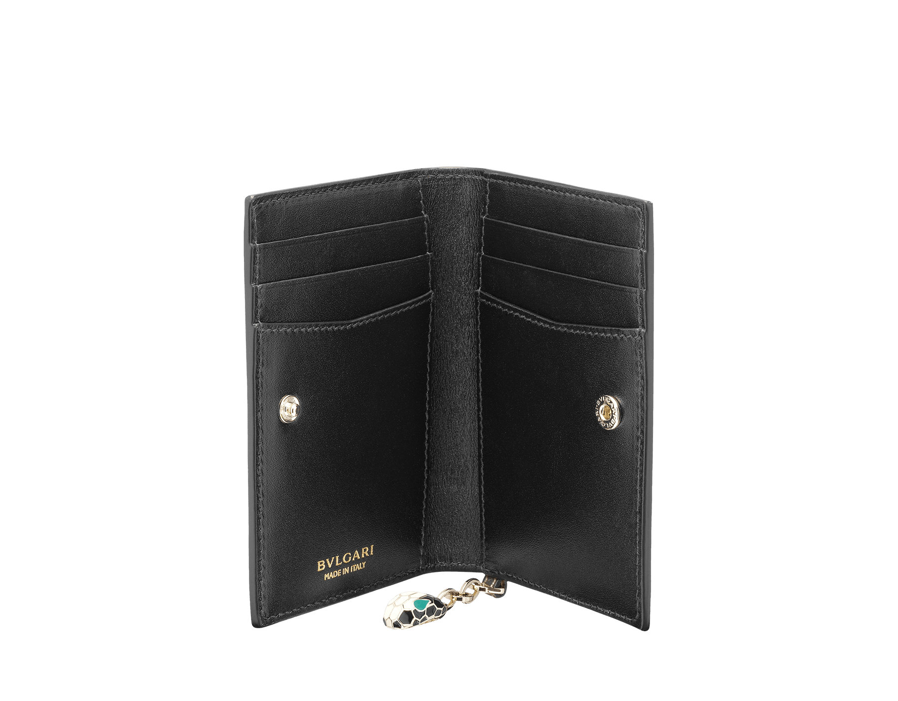 Folded credit card holder in rose quartz brushed metallic calf leather, with brass light gold plated hardware and stud closure. Serpenti head charm in black and white enamel, with green enamel eyes. 285418 image 2