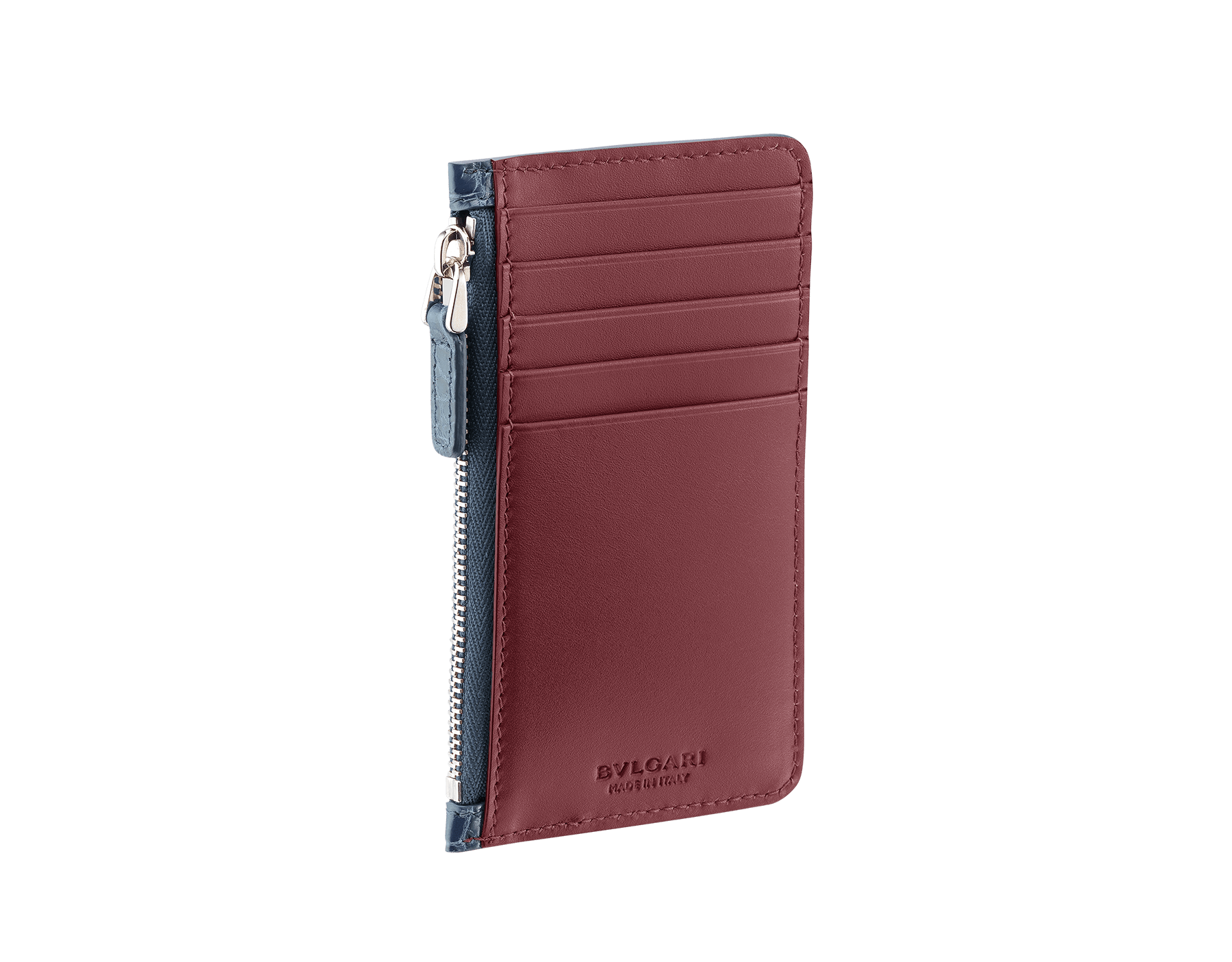 Credit card holder in Roman garnet shiny crocodile skin and denim sapphire smooth calf leather with brass palladium plated BVLGARI BVLGARI motif. BBM-CC-HOLDER-ZIP image 1