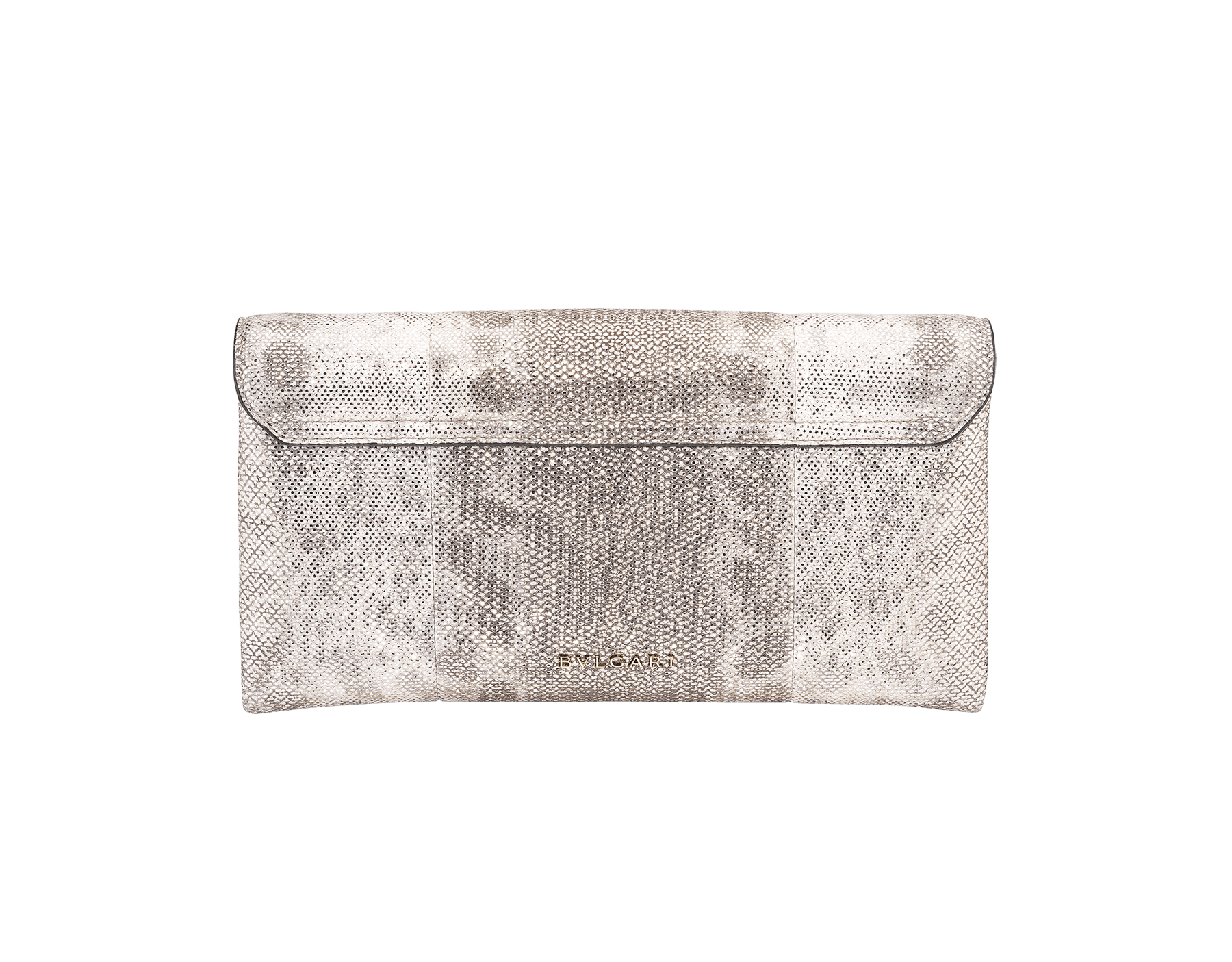 Serpenti evening clutch in milky opal metallic karung skin. Snakehead stud closure with tassel in light gold plated brass and top decorated with black and glitter milky opal enamel, and black onyx eyes. 526-001-0817S-MK image 3