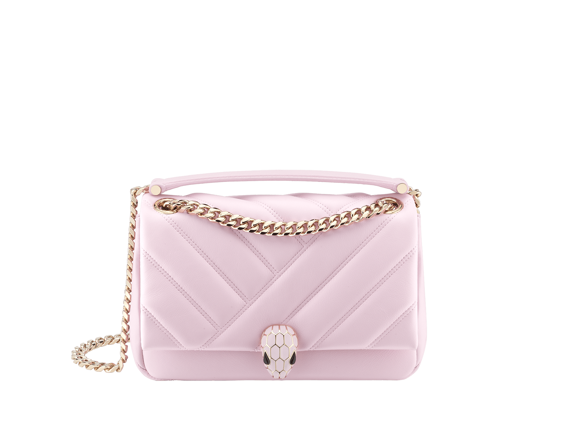 Serpenti Cabochon shoulder bag in soft matelassé rosa di francia nappa leather, with a graphic motif and rosa di francia calf leather. Brass light gold plated seductive snakehead closure in matt rosa di francia, shiny rosa di francia enamel and black onyx eyes. 288720 image 1