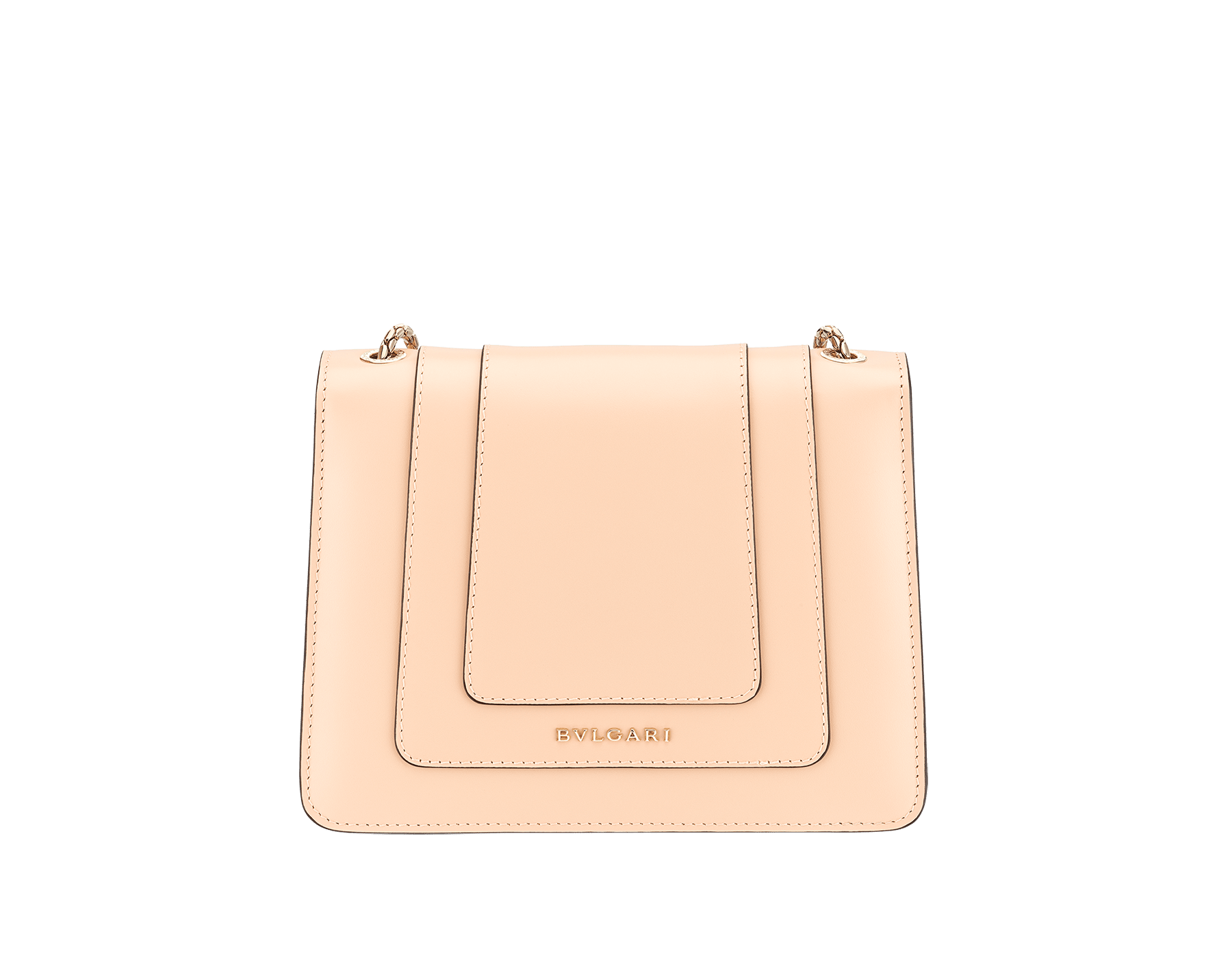 """Serpenti Forever"" crossbody bag in peach calf leather with Pink Spinel fuchsia gros grain internal lining. Iconic snakehead closure in light gold plated brass enriched with black and white agate enamel and green malachite eyes. 422-CLc image 3"