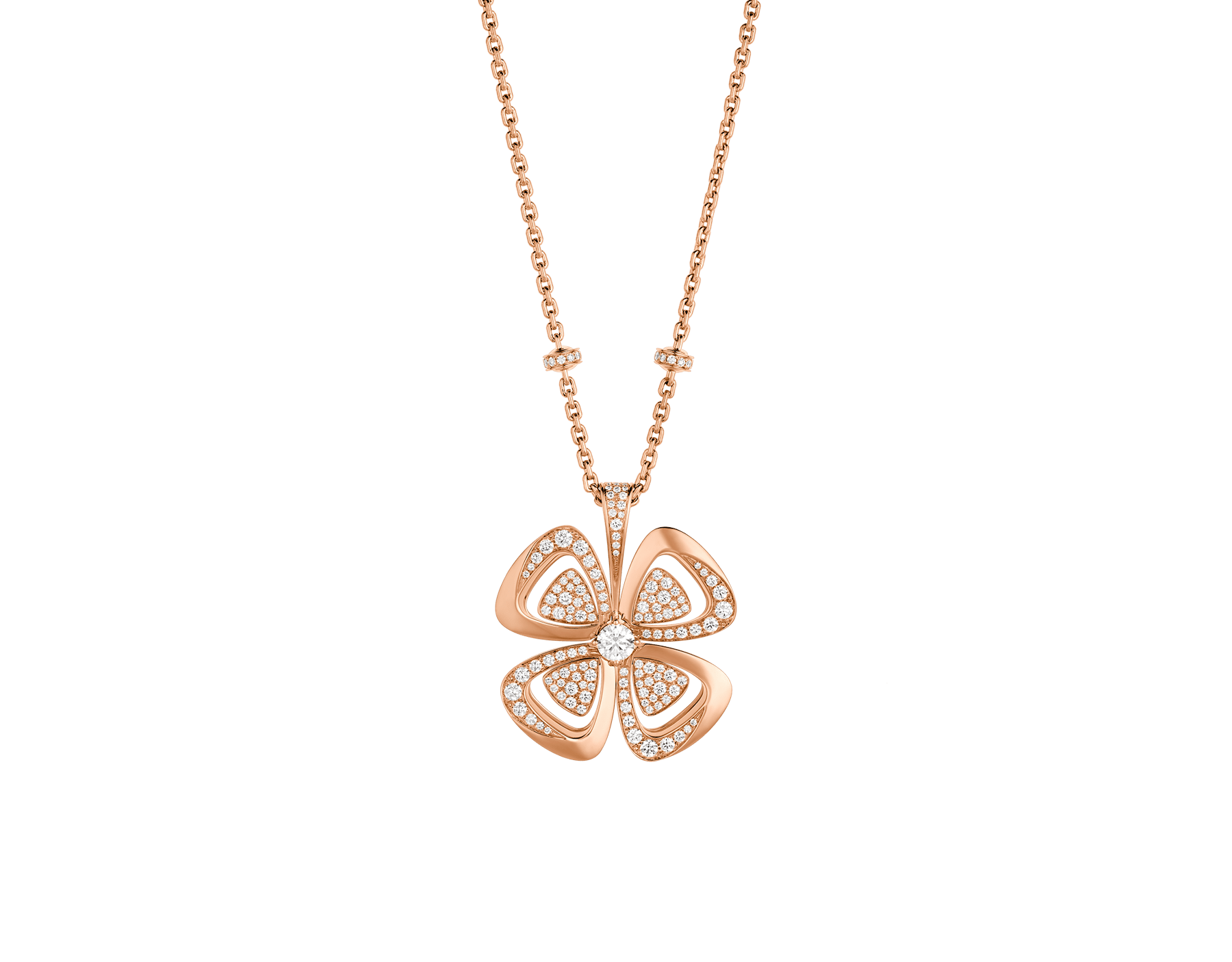 Fiorever 18 kt rose gold necklace set with a central round brilliant-cut diamond and pavé diamonds. 357218 image 1