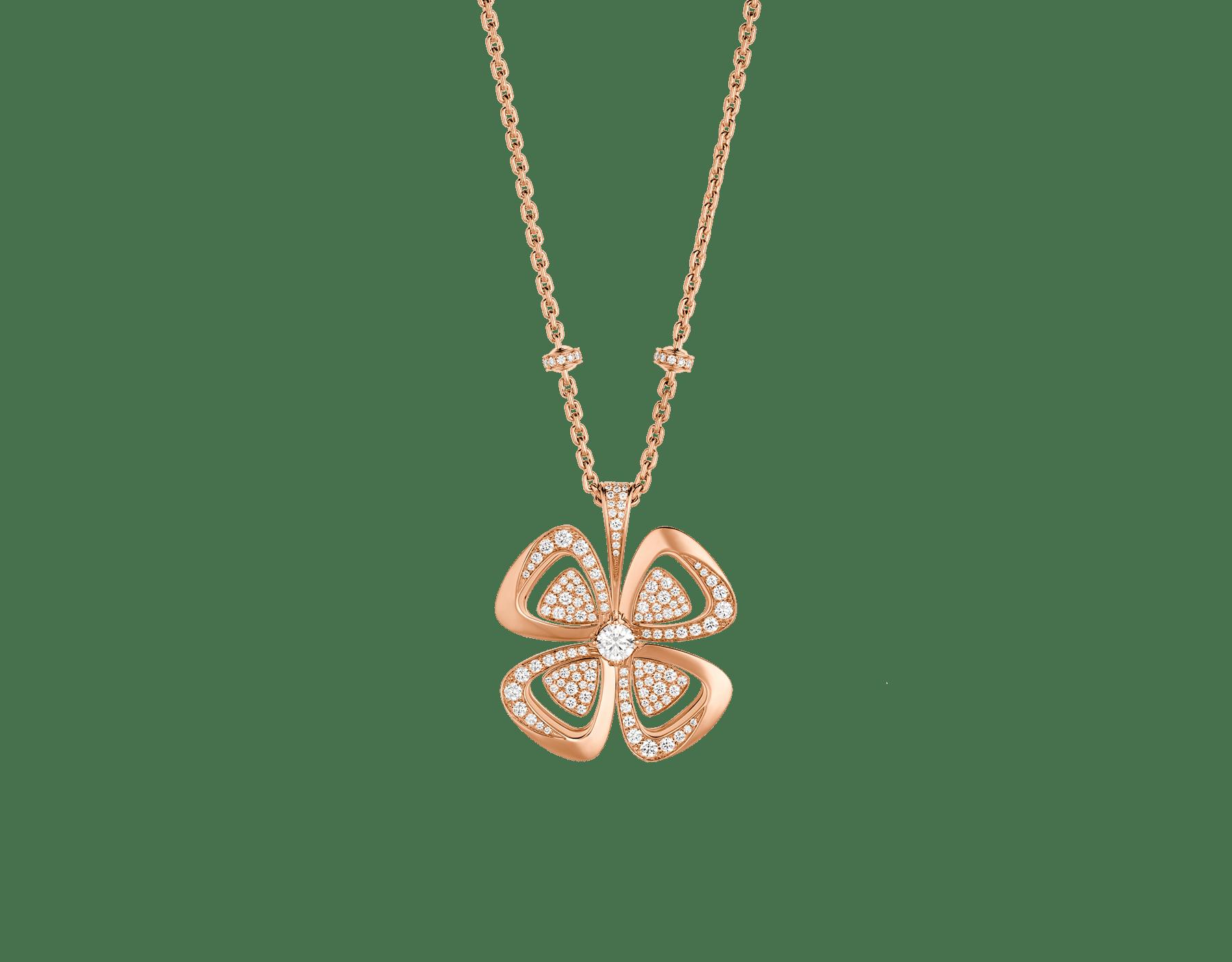 Fiorever咏绽系列18K玫瑰金项链,中央镶嵌一颗圆形明亮式切割钻石,饰以密镶钻石。 357218 image 1