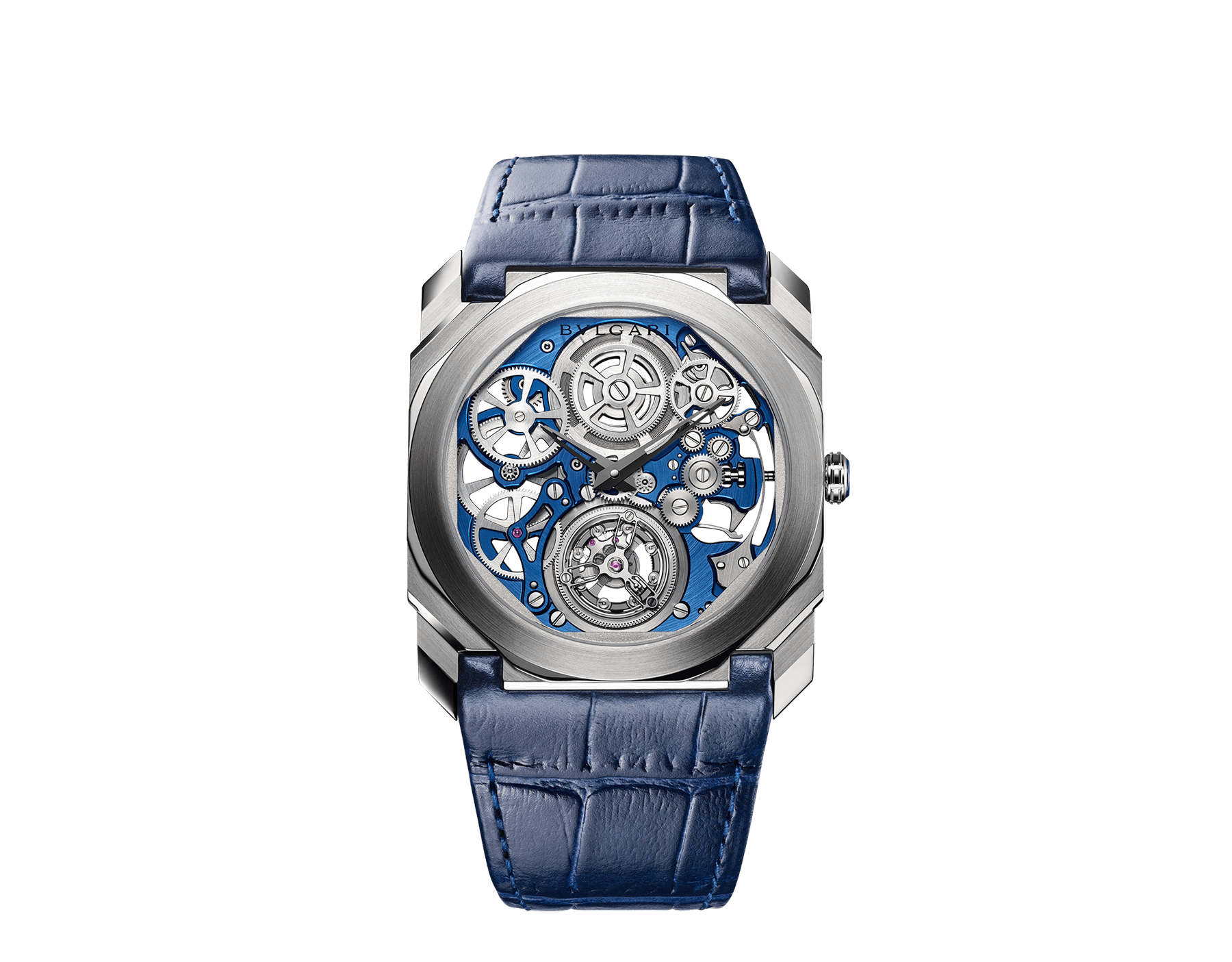 Octo Finissimo Tourbillon Skeleton watch with extra-thin mechanical movement with manual winding and flying tourbillon, 40 mm platinum case with transparent case back, platinum crown with blue ceramic insert, blue skeletonized caliber, blue alligator bracelet and platinum ardillon buckle 103188 image 1