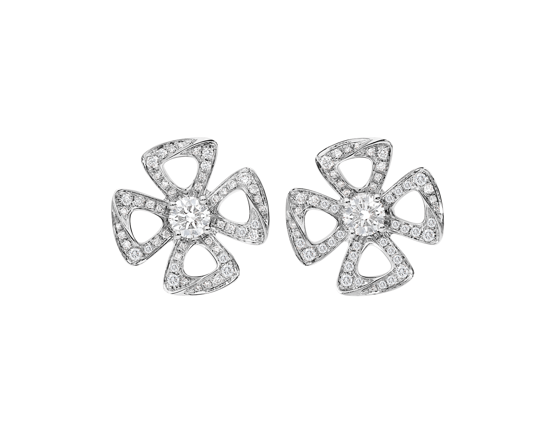 Fiorever 18 kt white gold earrings set with two central diamonds (0.20 ct each) and pavé diamonds (0.33 ct) 354502 image 1