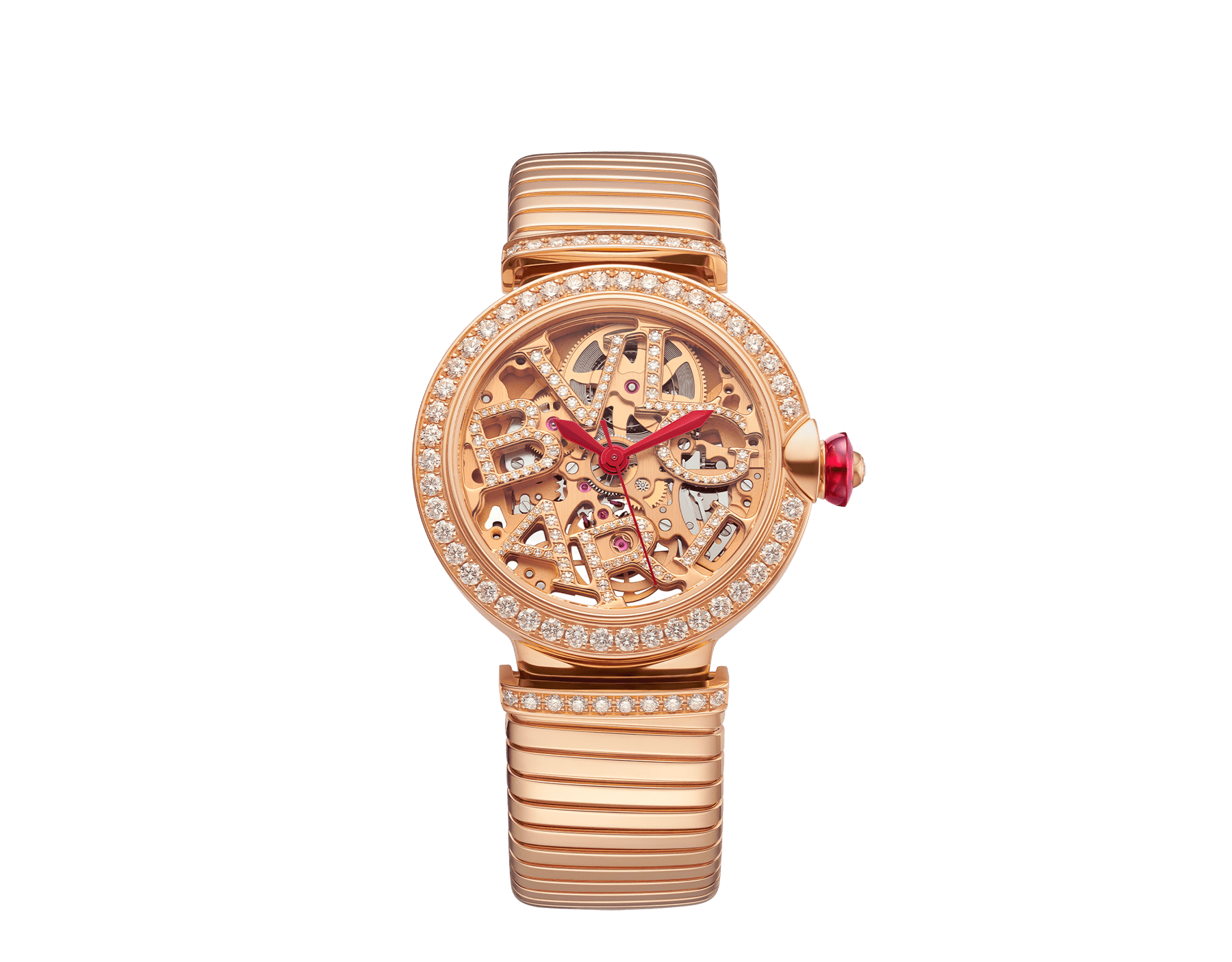 LVCEA Skeleton watch with mechanical manufacture movement, automatic winding and skeleton execution, 18 kt rose gold case, 18kt rose gold bezel set with diamonds, 18 kt rose gold openwork BVLGARI logo dial set with round brilliant-cut diamonds, red hands and 18 kt rose gold tubogas bracelet. Exclusive Edition for the United States 103134 image 1